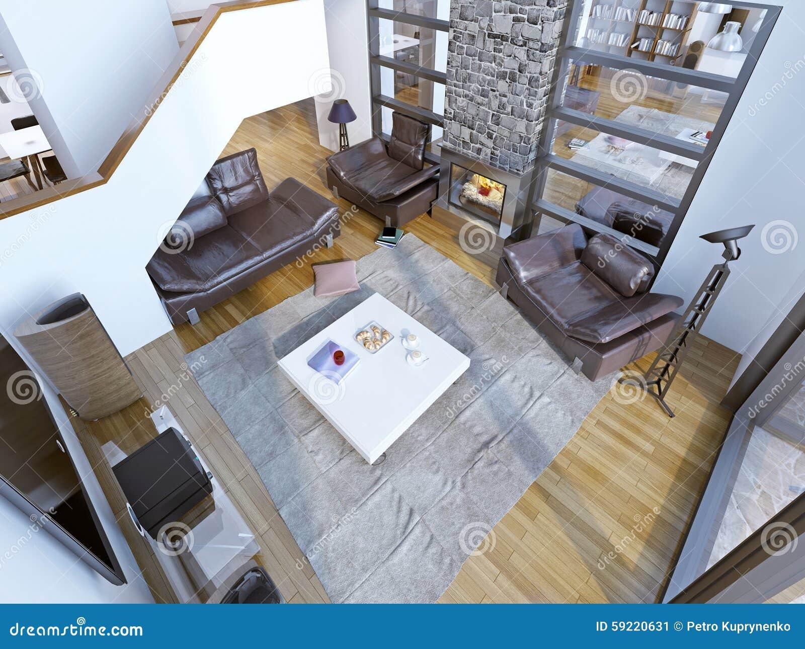 Idée De Cheminée Moderne idée de pièce à haut plafond moderne de salon image stock