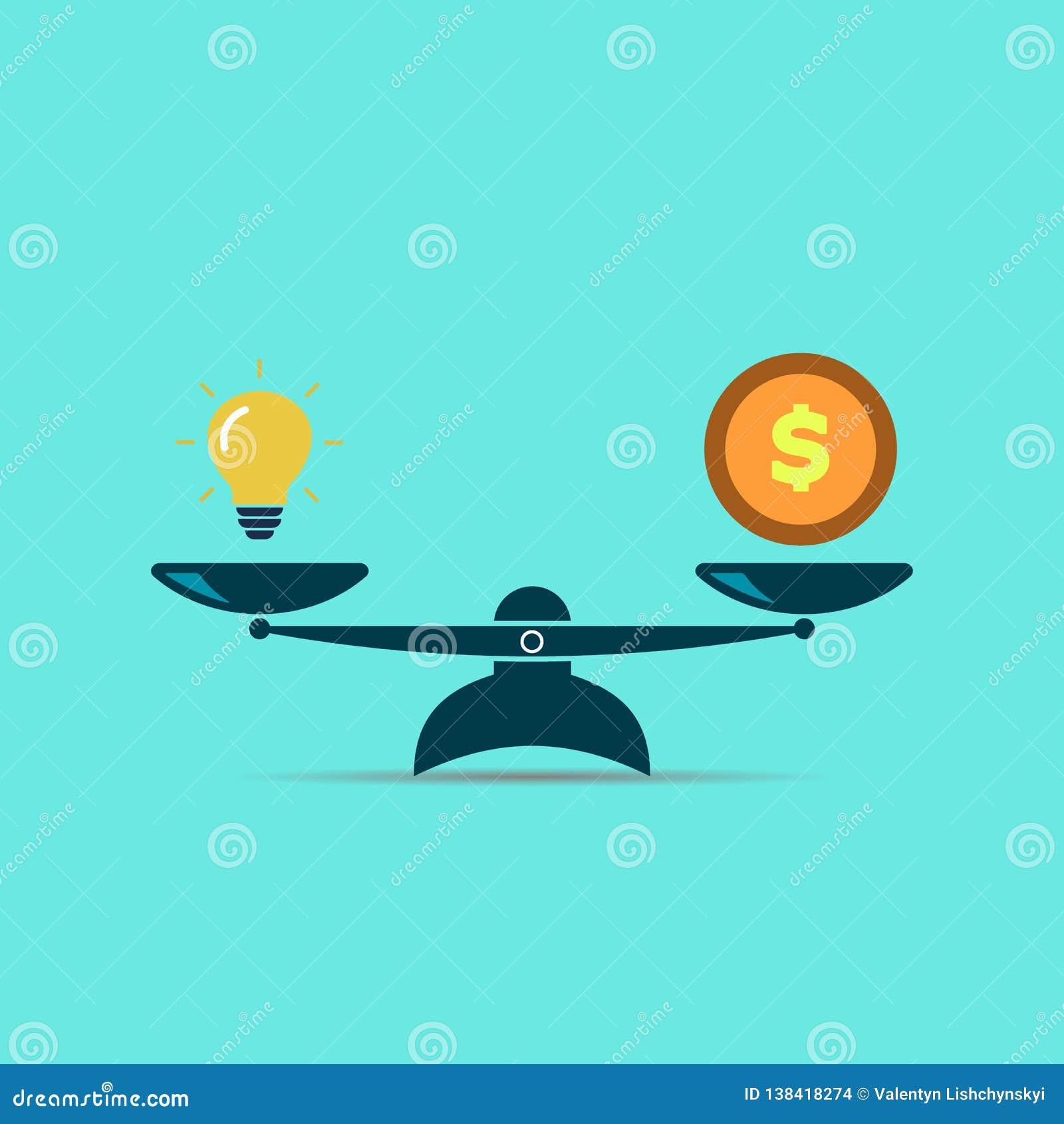 Idée et argent d ampoule sur des échelles L idée est égale à l argent symbole EPS10 de vecteur