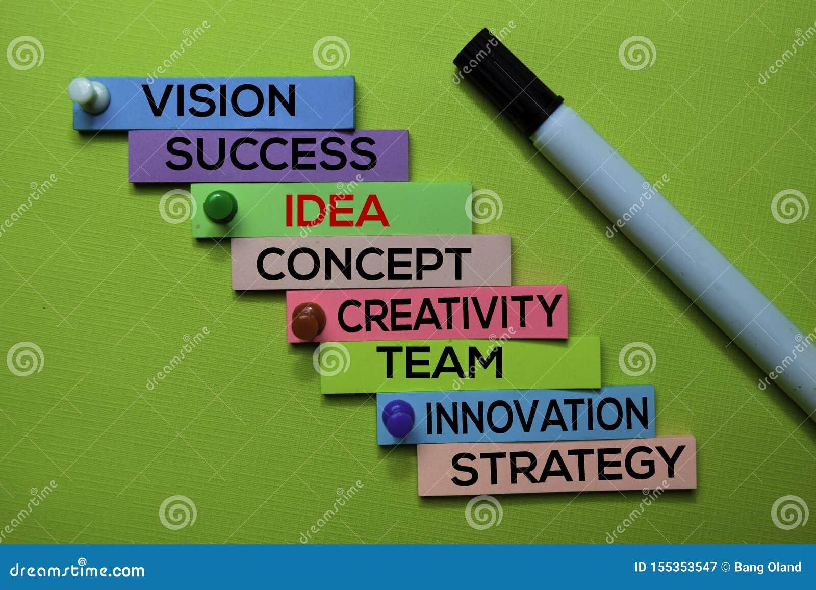 Idée, vision, succès, concept, créativité, équipe, innovation, texte de stratégie sur les notes collantes d isolement sur le bure