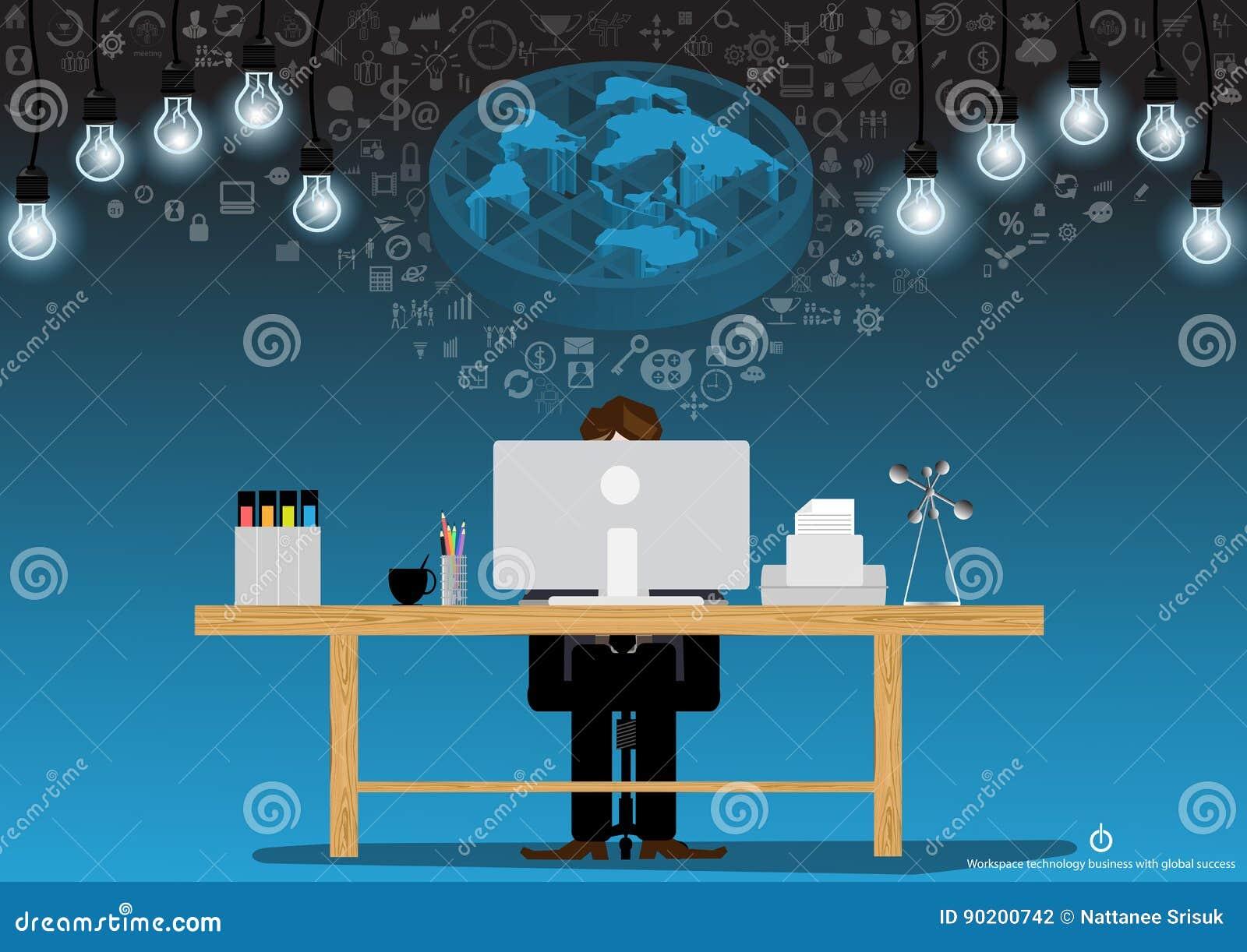 Idéer för vektoraffärsmanidékläckning för att använda teknologi för att meddela med en dator, en skrivare, mappar, blyertspennor