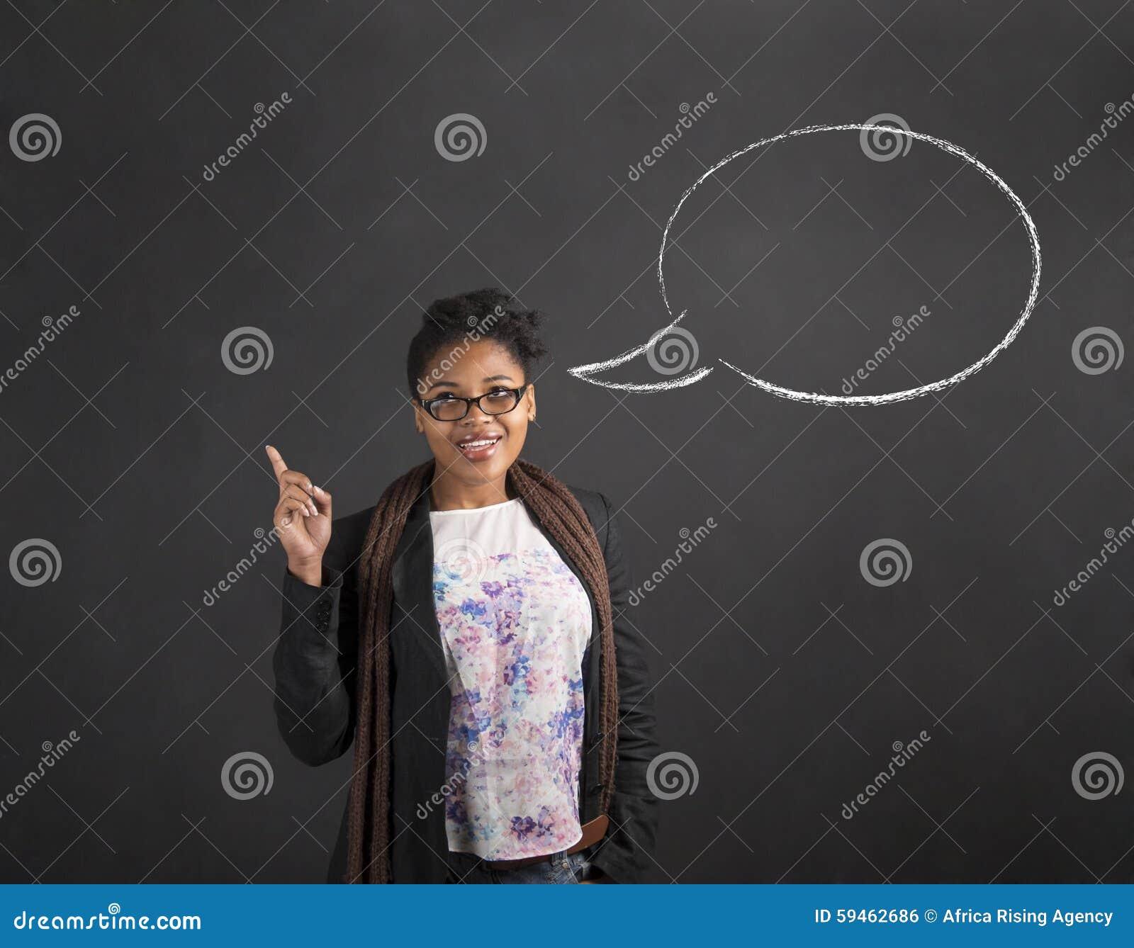 Idén och anförande för afrikansk kvinna bubblar den bra på svart tavlabakgrund
