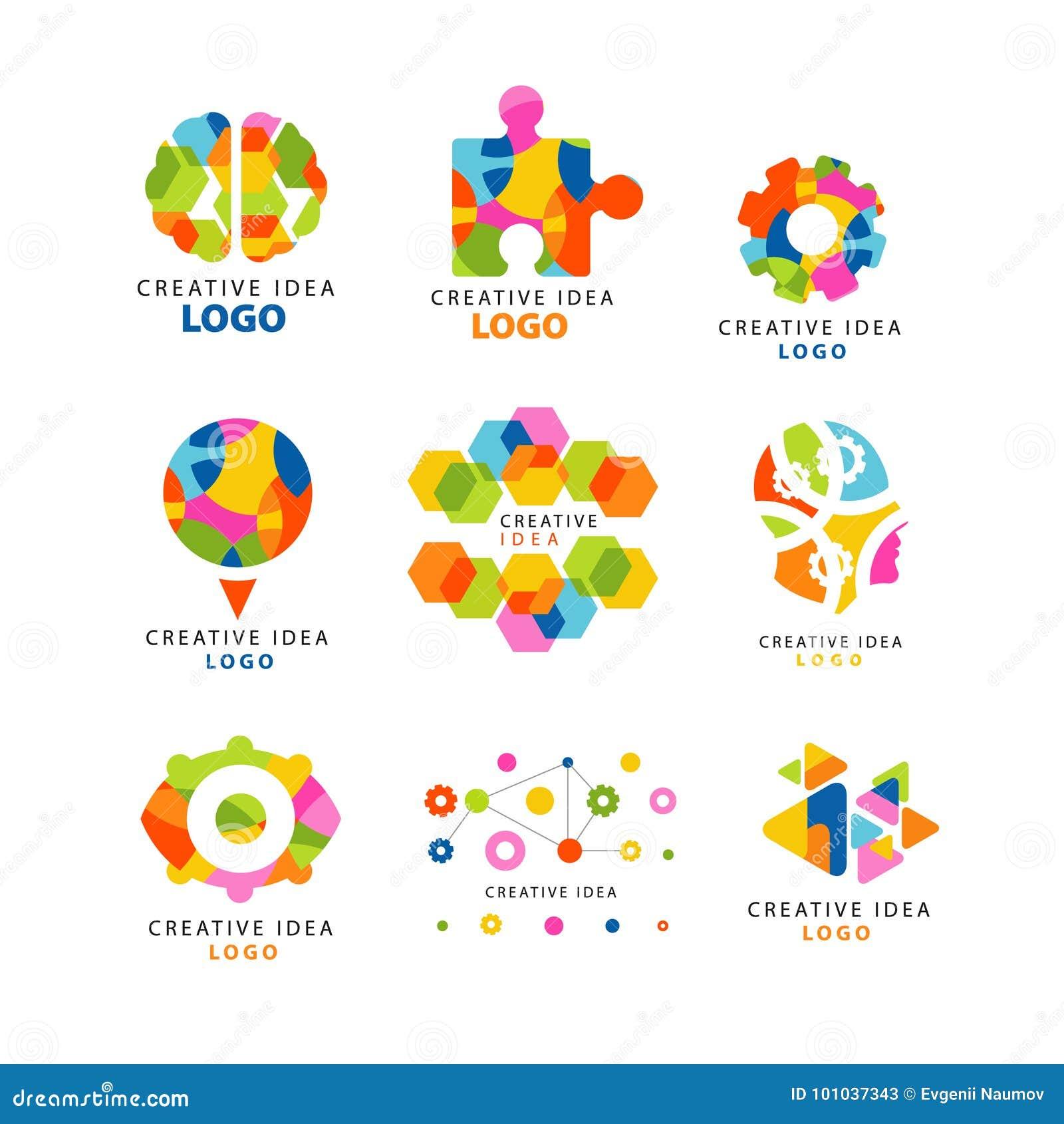 Idérik idélogo, abstrakta färgrika beståndsdelar och symboler för webbplats, advertizing, baner, affisch, baner