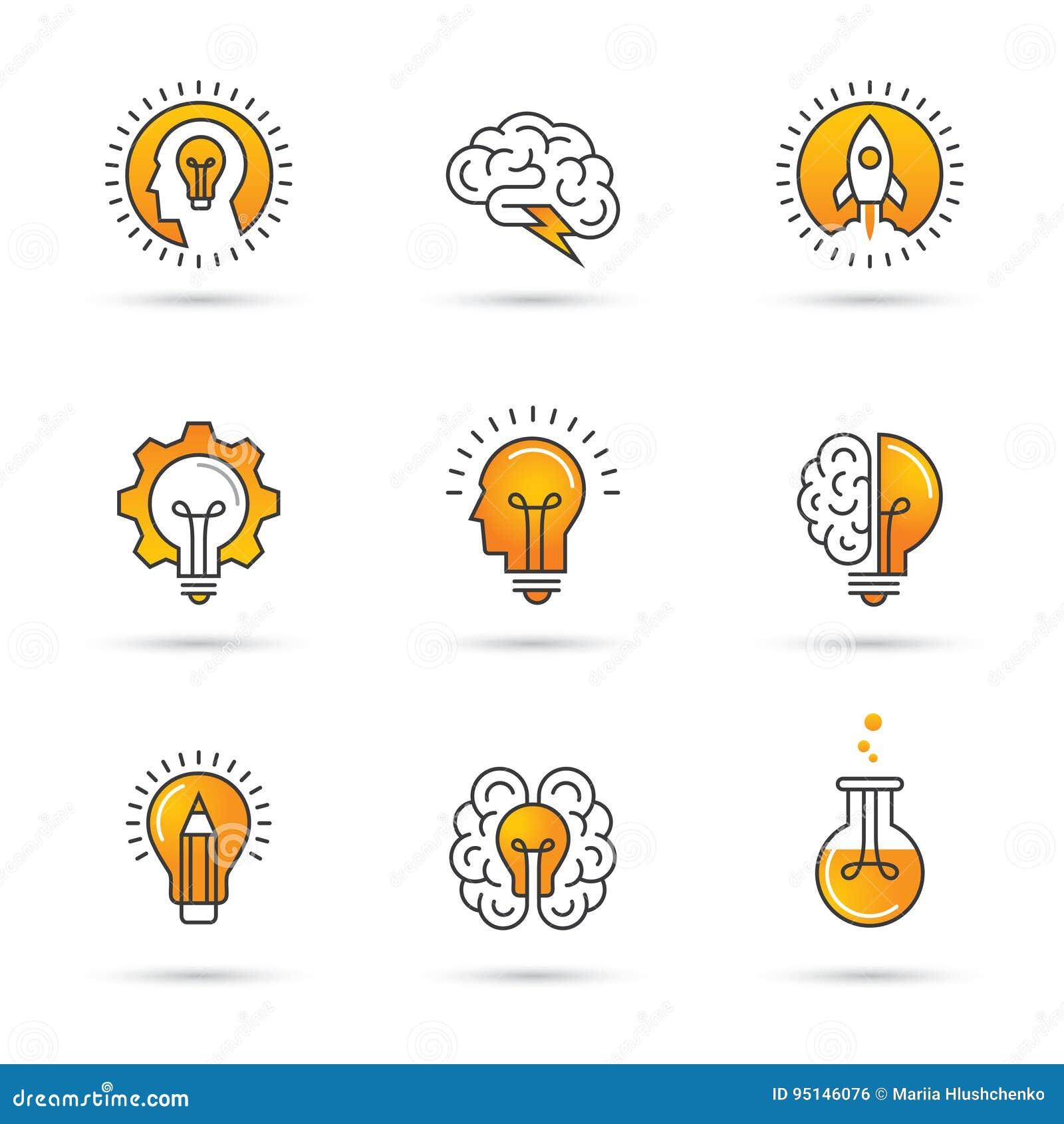 Idérik idélogouppsättning med det mänskliga huvudet, hjärna, ljus kula