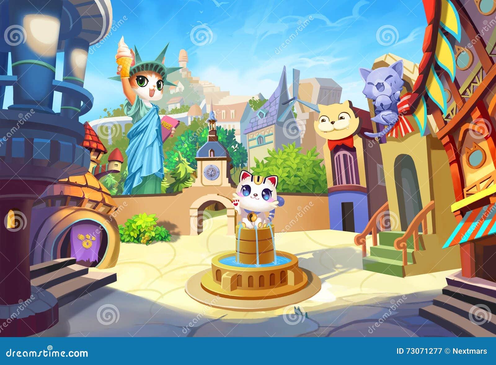 Idérik illustration och innovativ konst: Välkomnande till Cat Ville, en liten stad med deras egen staty av frihet