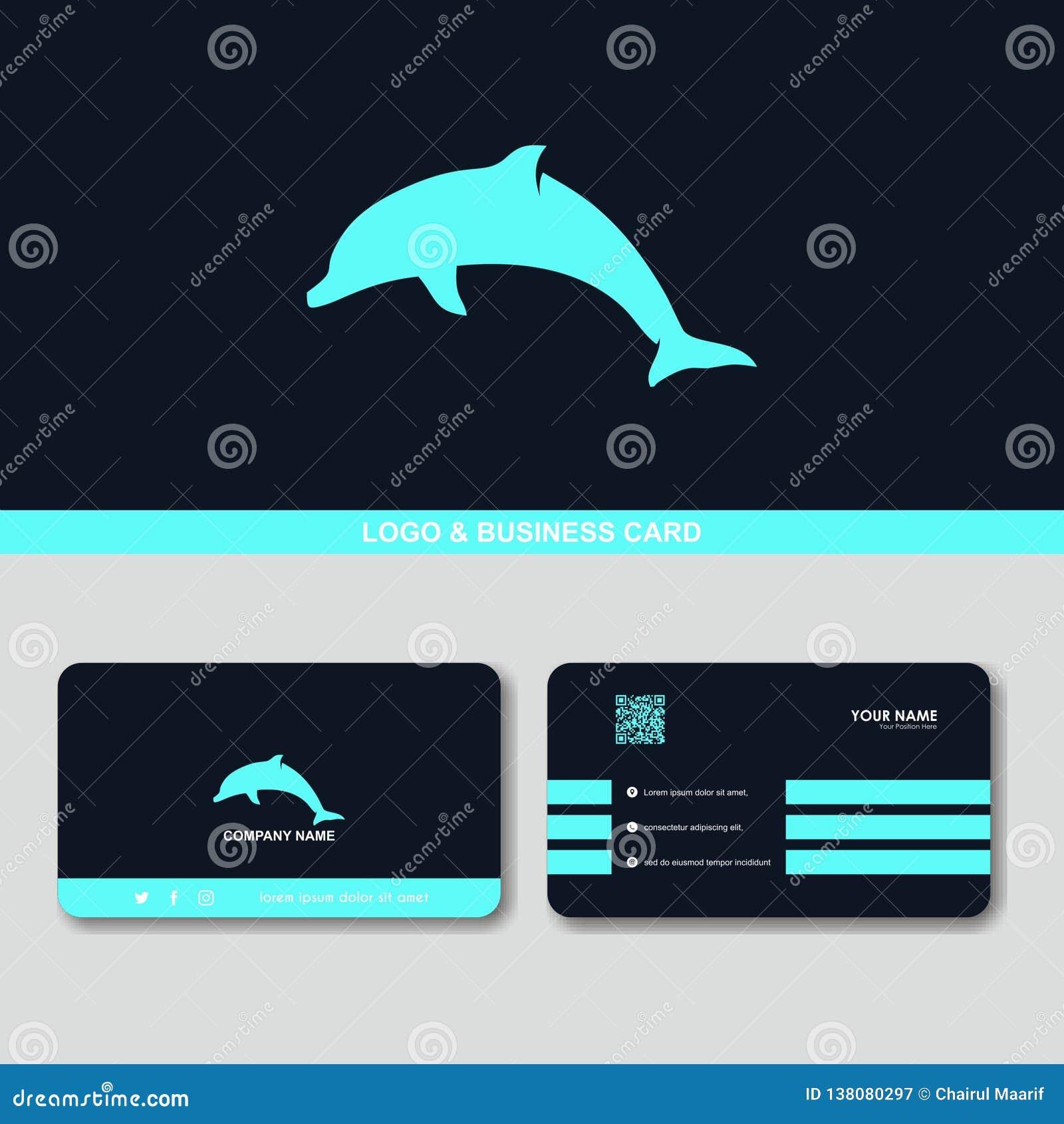 Idérik mall för vektor för begrepp för design för kort för delfinlogoaffär