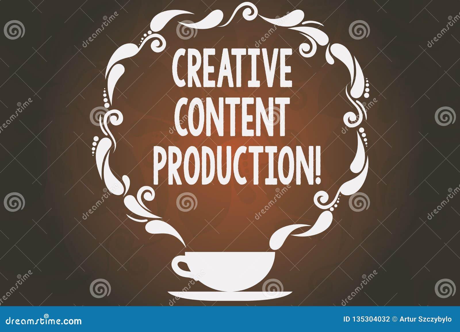 Idérik nöjd produktion för ordhandstiltext Affärsidé för framkallning och att skapa av den visuella eller skriftliga tillgångkopp