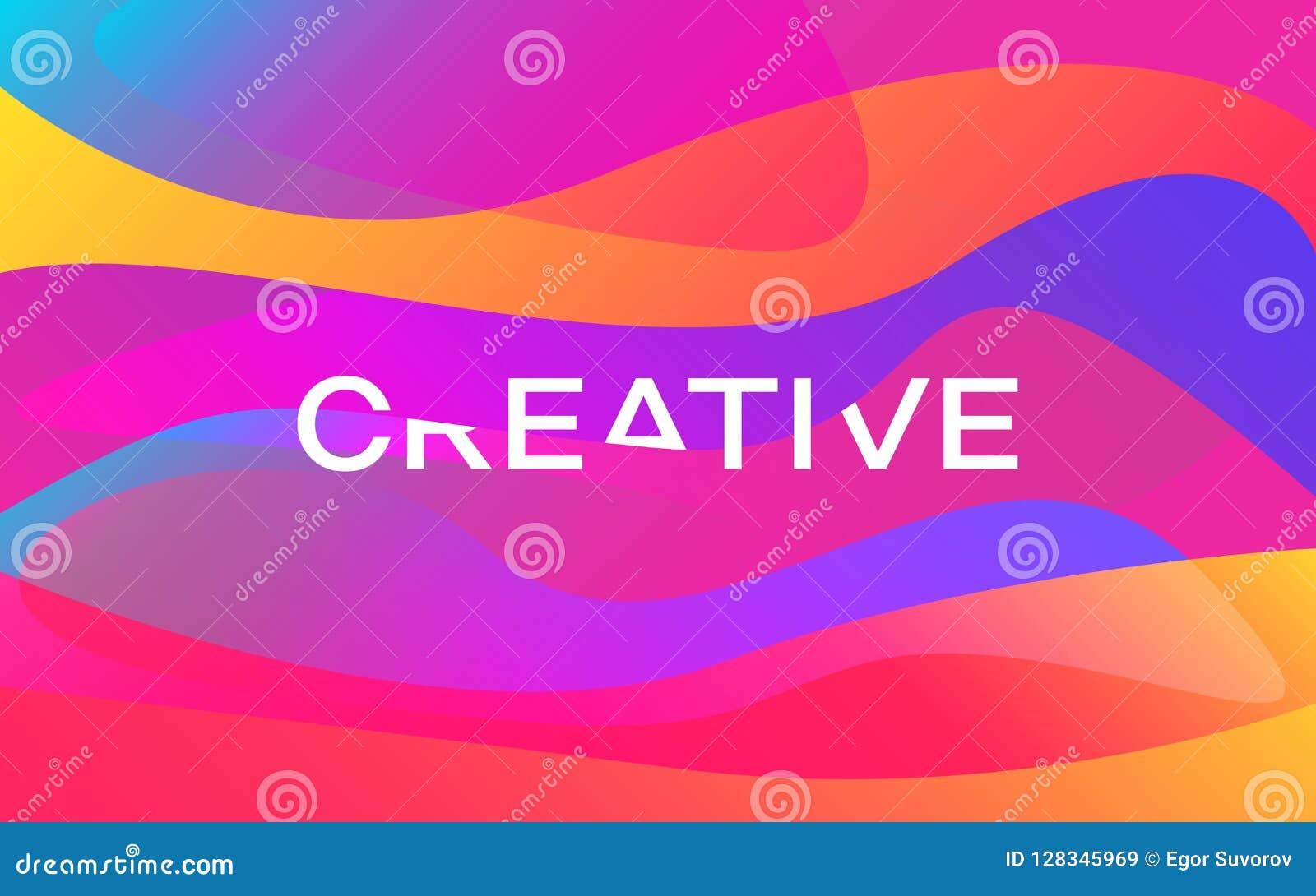 Idérikt Färgformdesign Modern färgrik affisch Ljusa vågor med den vita inskriften moderiktig abstrakt bakgrund