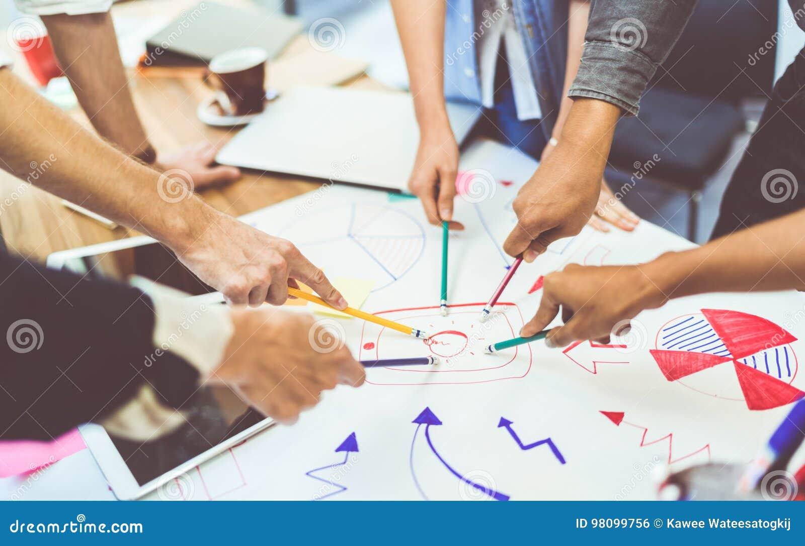 Idérikt idéteamworkbegrepp Grupp av multietniskt olikt lag, affärspartner eller högskolestudenter i projektmöte