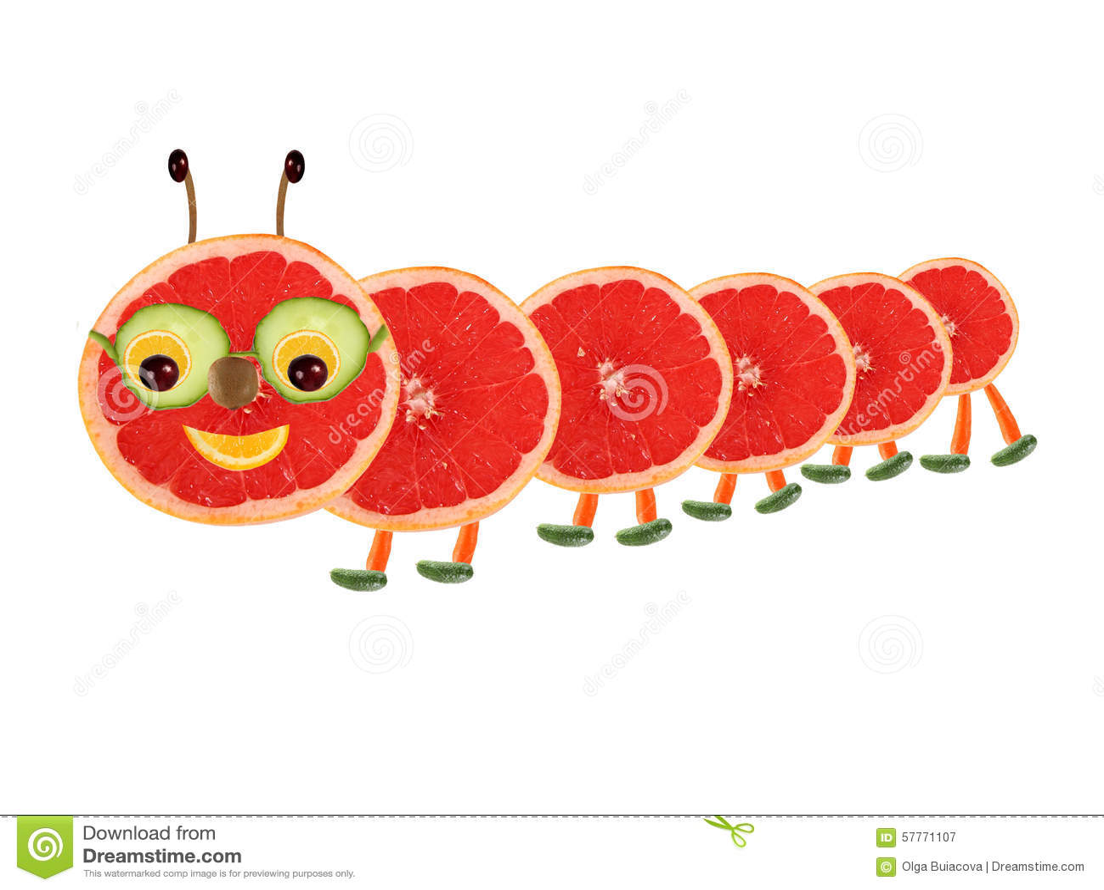 Idérikt matbegrepp Rolig liten larv som göras från frukt