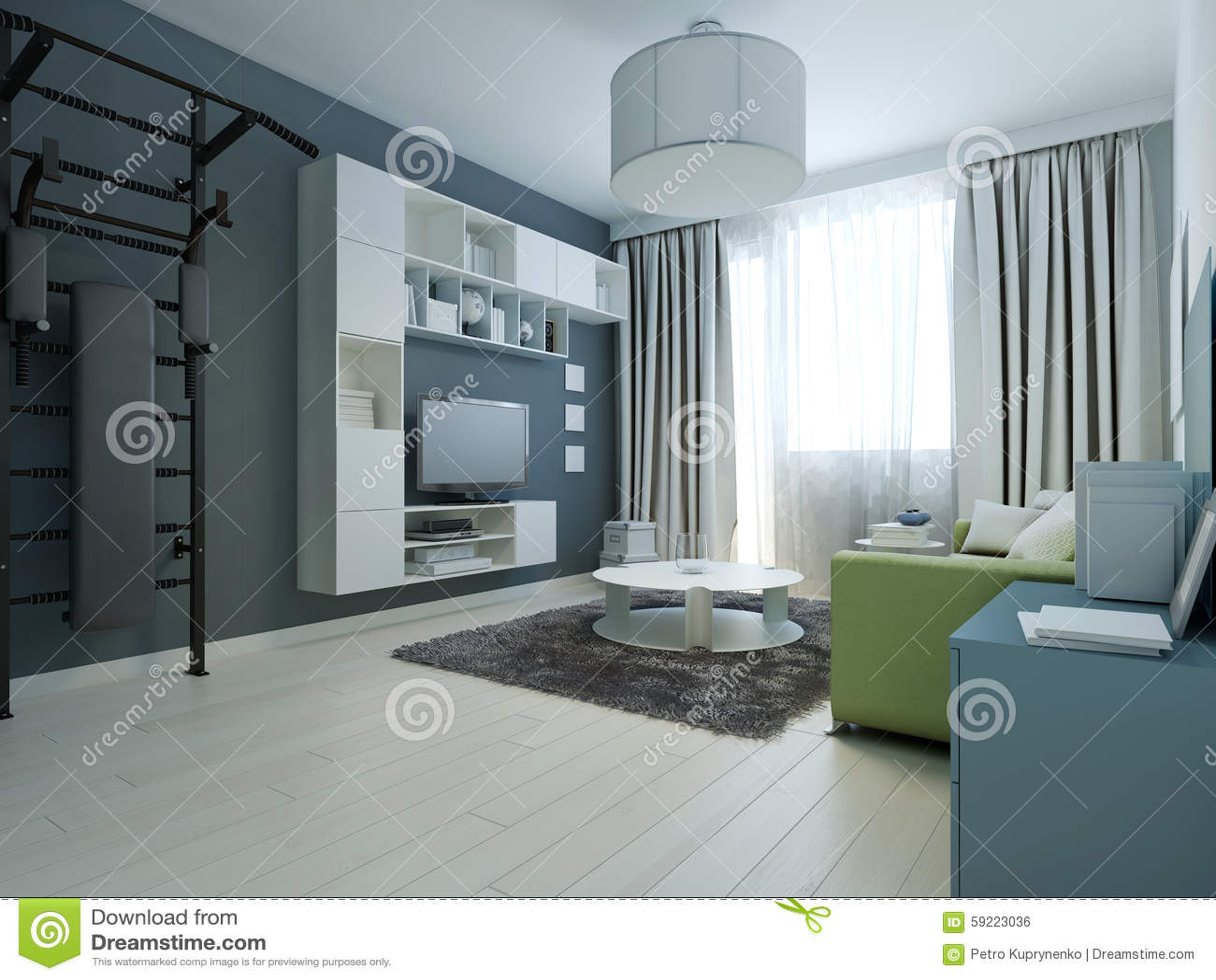 Idé av den moderna vardagsrummet med ribbstol arkivfoto   bild ...