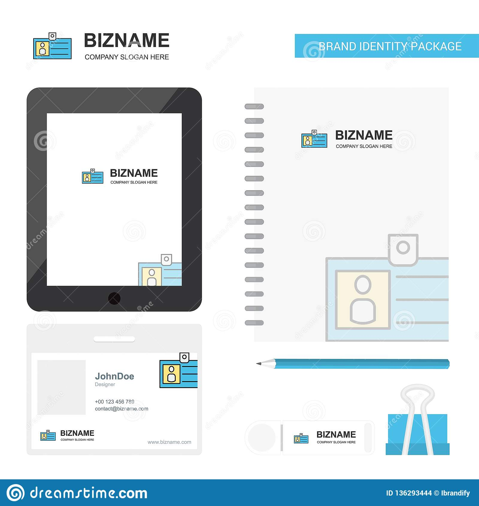 Id Card Business Logo Tab App Diary Pvc Employee Card And Usb Brand Stationary Package Design Vector Template Stock Vector Illustration Of Identity Business 136293444