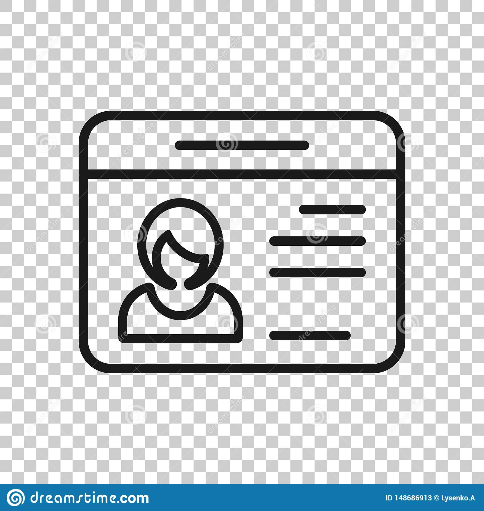Id card icon in transparent style. Identity tag vector illustration on isolated background. Driver licence business concept