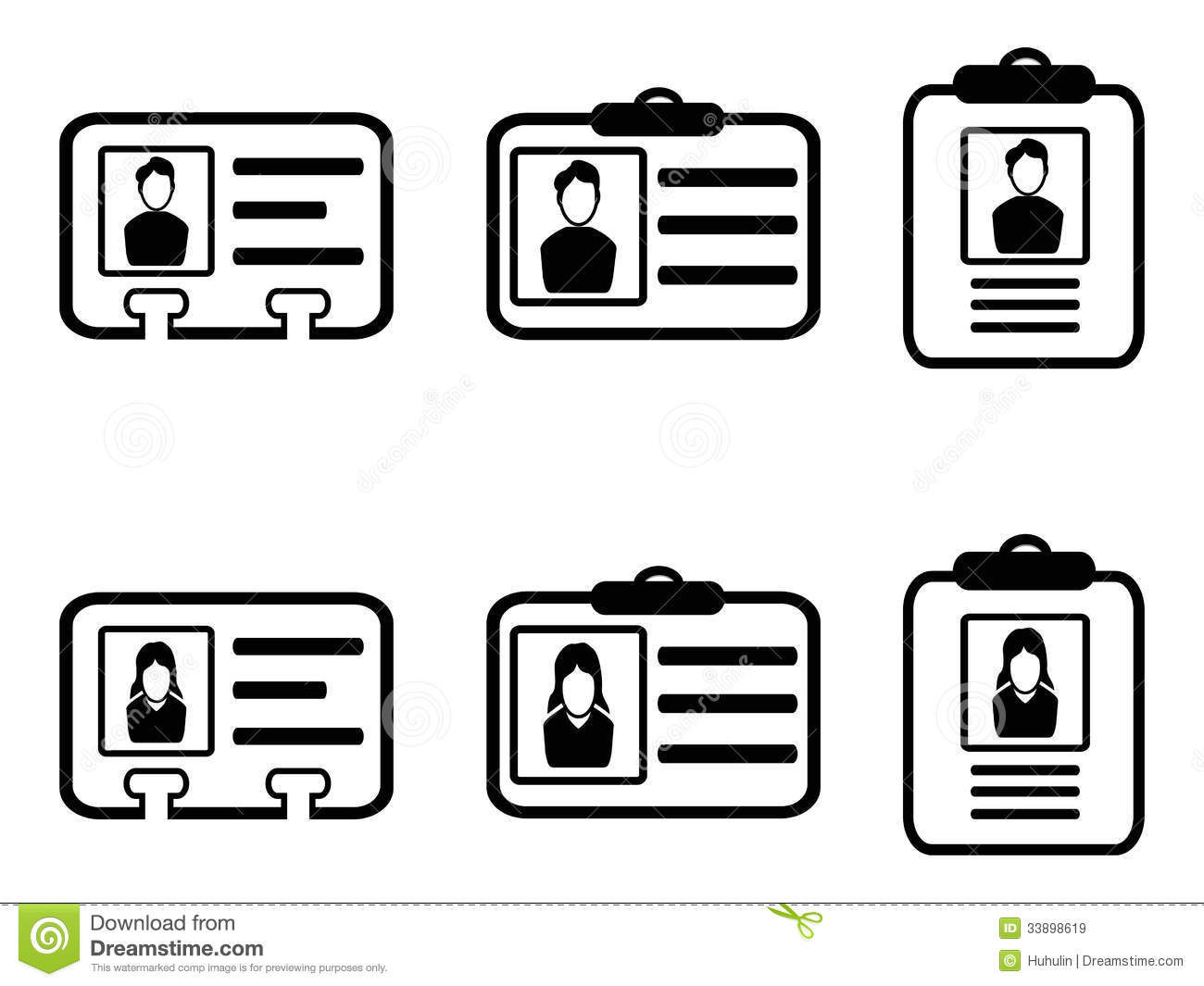 Id card icons stock vector. Illustration of information - 33898619