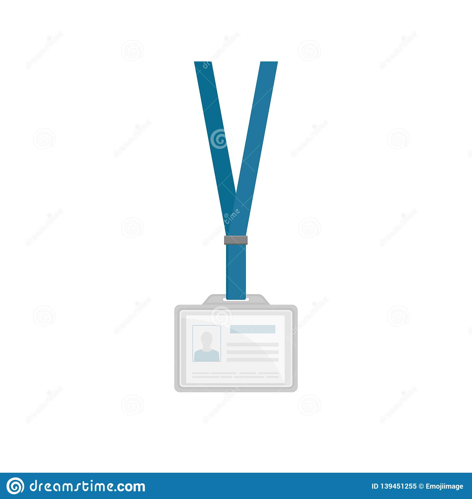 Id Card In Plastic Rectangular Holder With Blue Neck Lanyard Employees Identification Badge Template Flat Design Stock Vector Illustration Of Identity Graphic 139451255