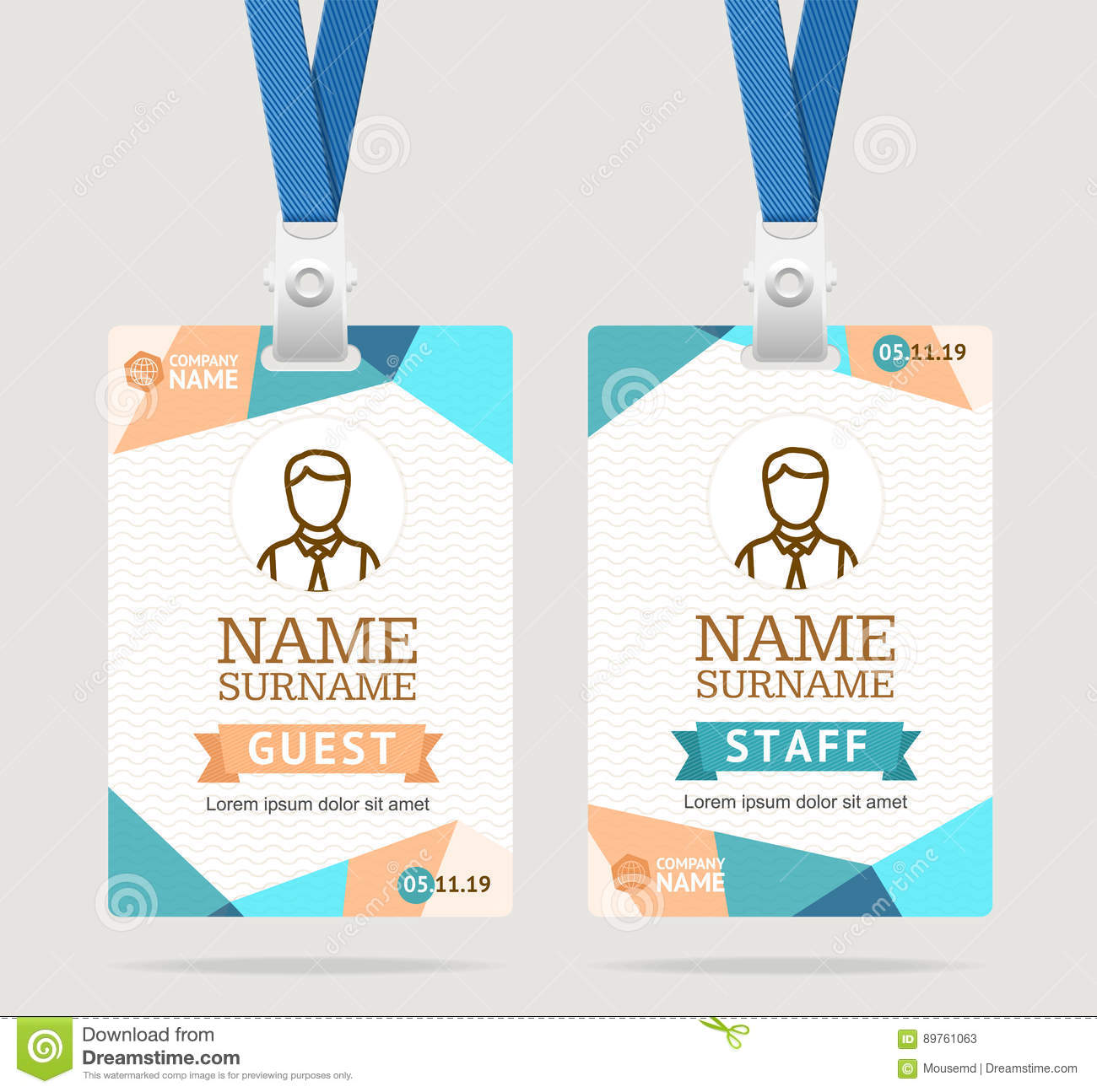 Id Card Template Plastic Badge. Vector Stock Vector - Illustration ...