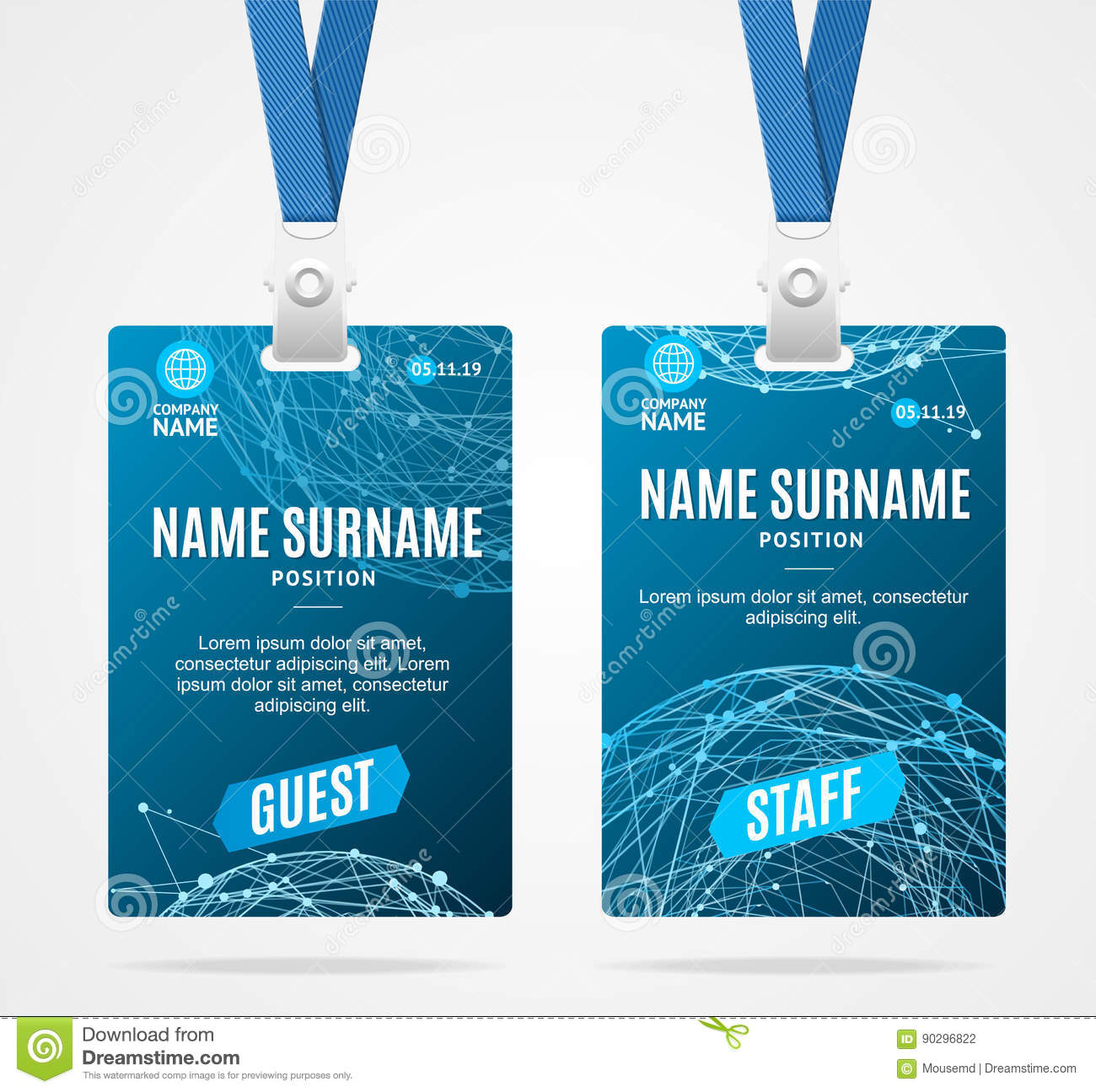 id card template plastic badge vector stock vector illustration