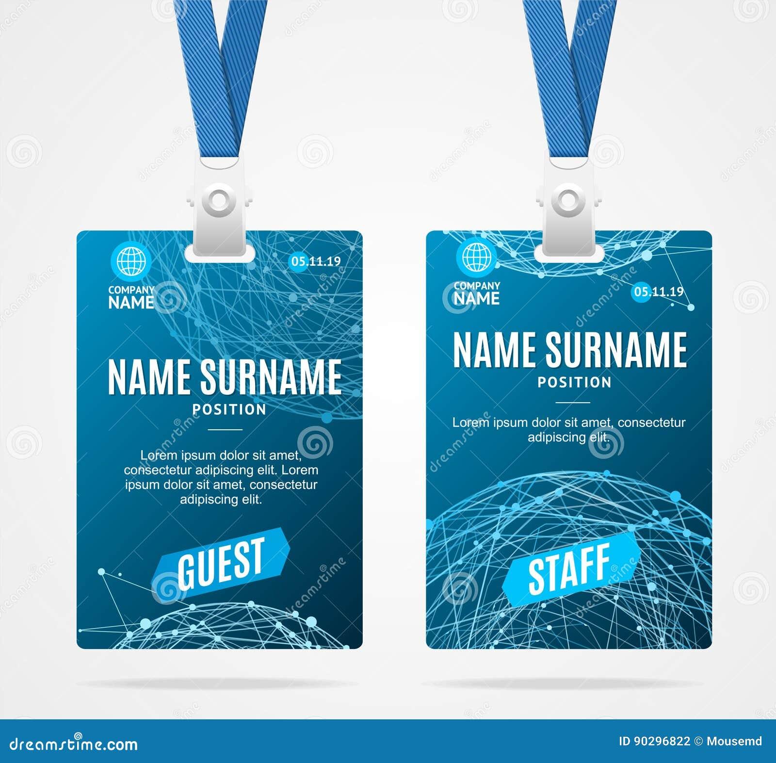 Id Card Template Plastic Badge Vector Stock Vector Illustration