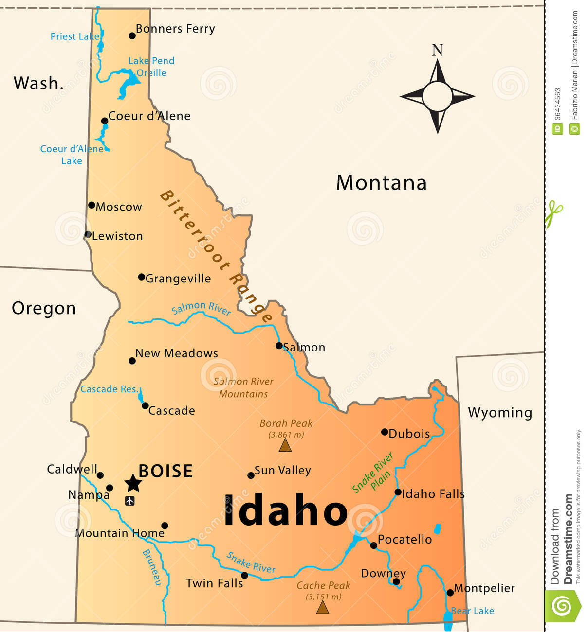 Illustration of the map of the Great State of Idaho, USA. Featuring ...