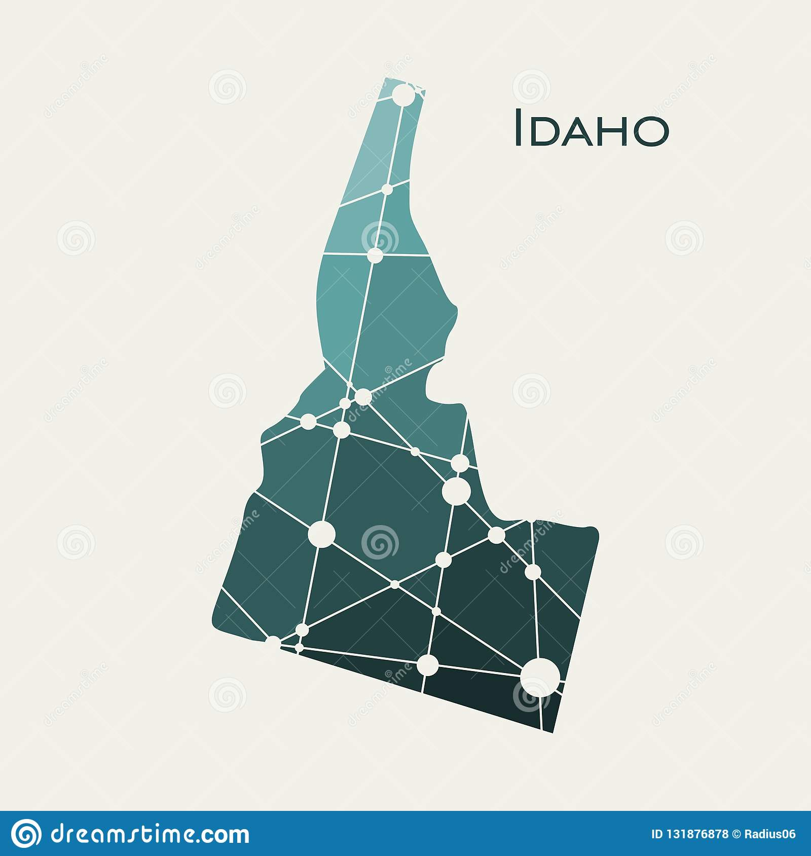 Idaho state map stock vector. Illustration of poly, regions - 131876878