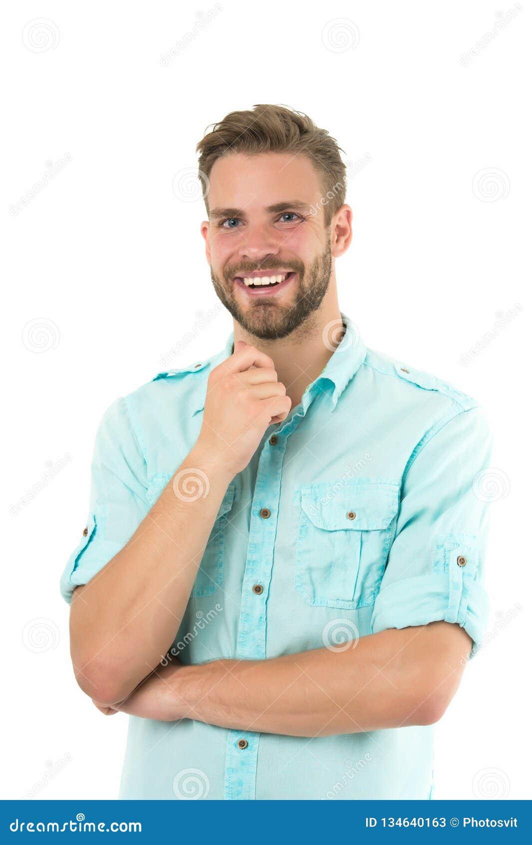 Idea agradable Individuo barbudo hermoso del hombre que sonríe en el fondo blanco aislado El machista alegre de la sonrisa del in
