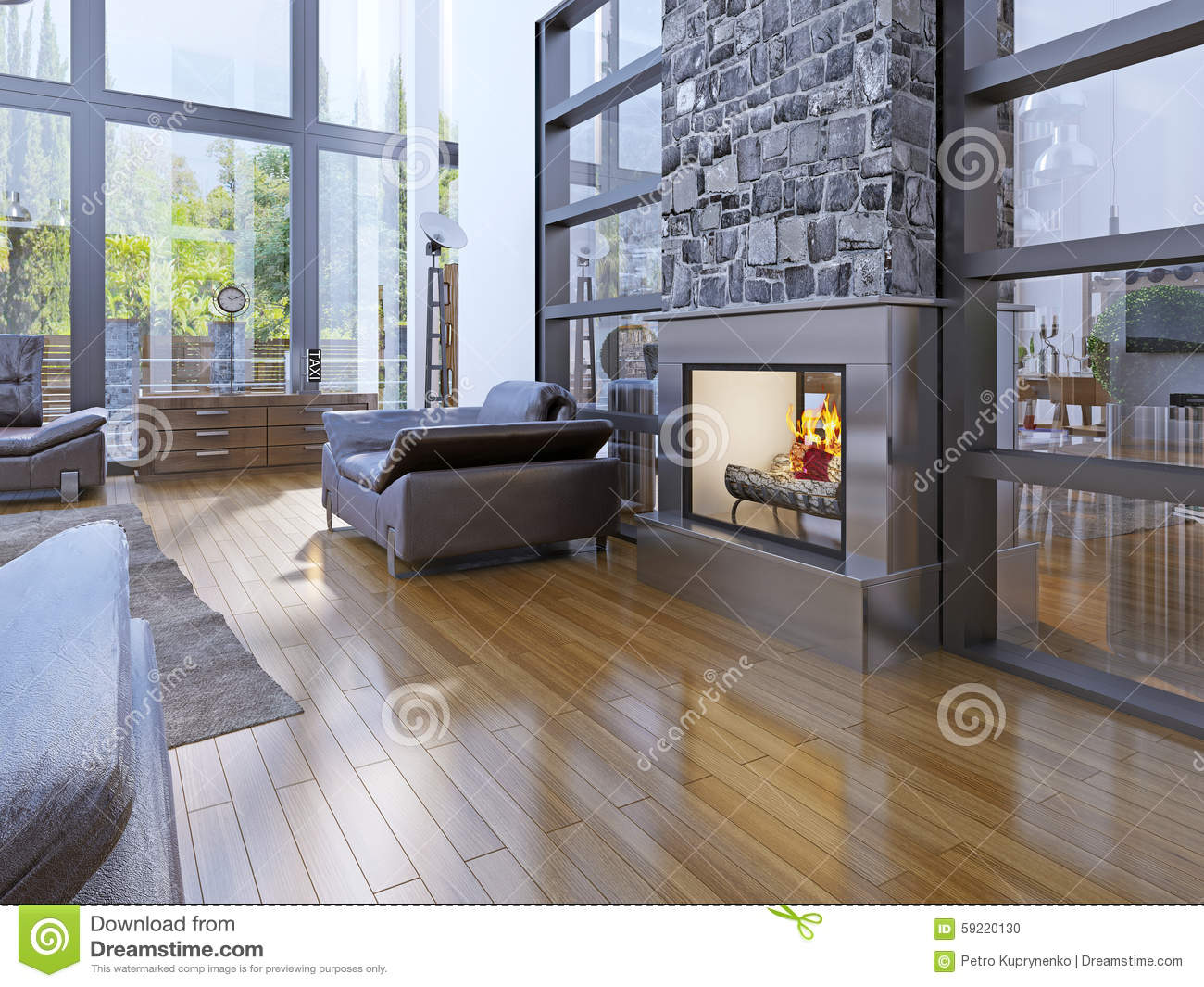 Idea Of Avant Garde Living Room With Fireplace Stock Photo