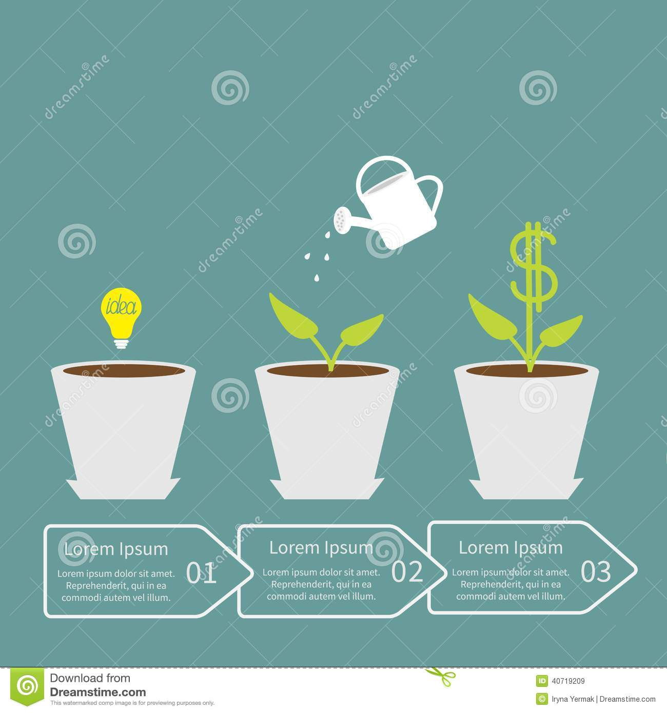 Idea bulb seed watering can dollar plant in pot stock vector image 40719209 - Successful flower growing business ...