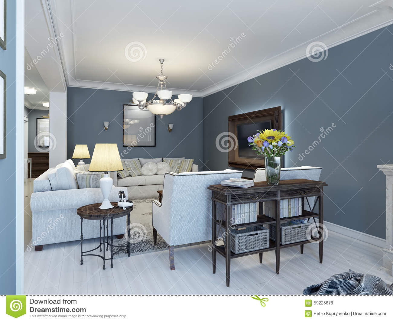 Idea Of Classic Lounge With Navy Walls Stock Illustration