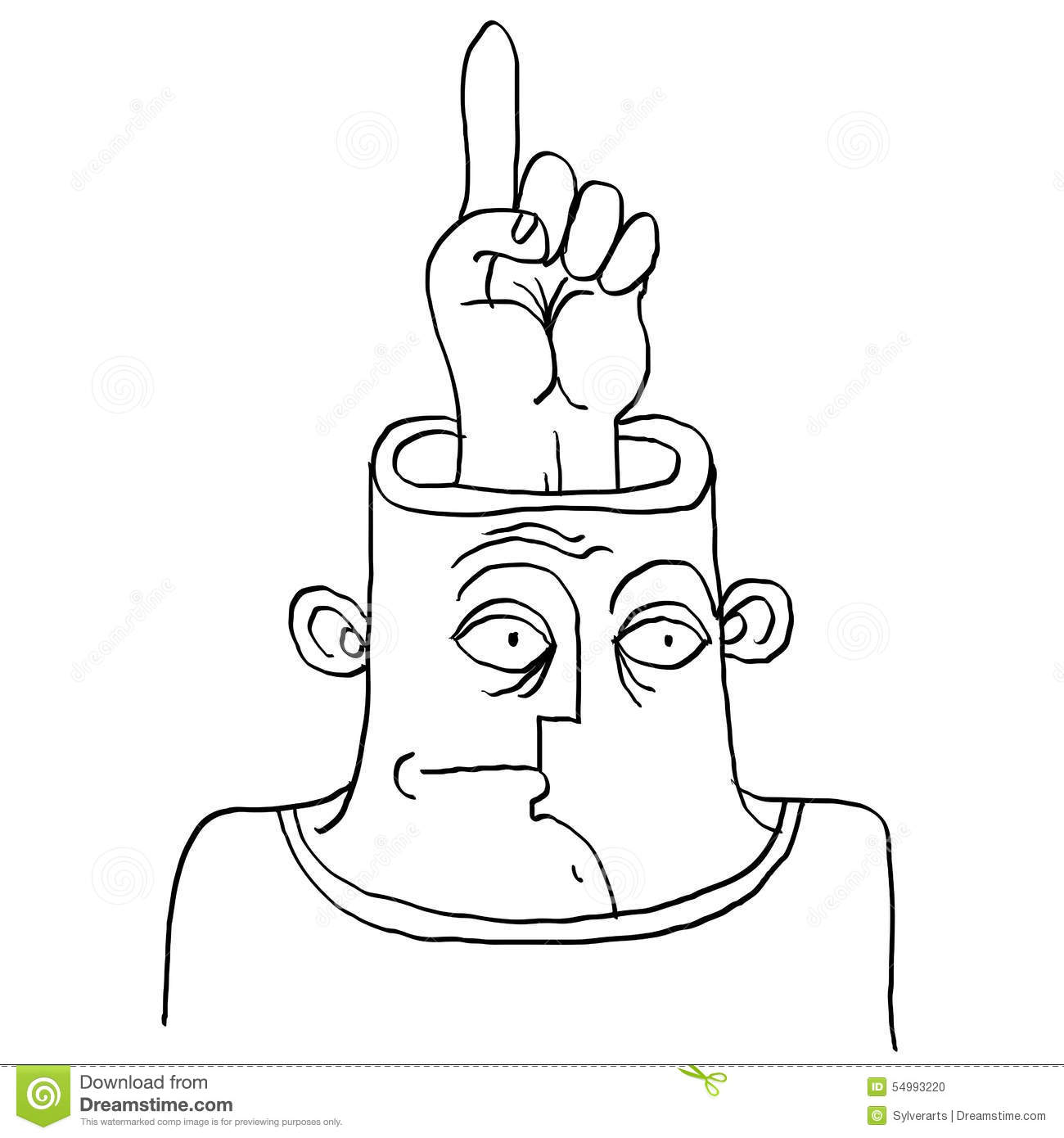 idea concept hand drawn illustration of a person thinking fing