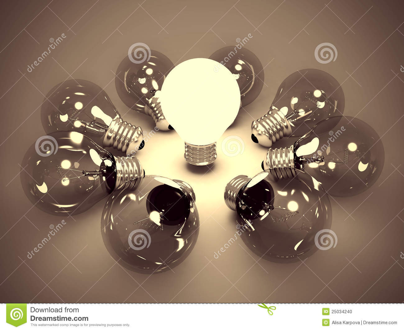 Idea concept of one glowing light bulb in the dark