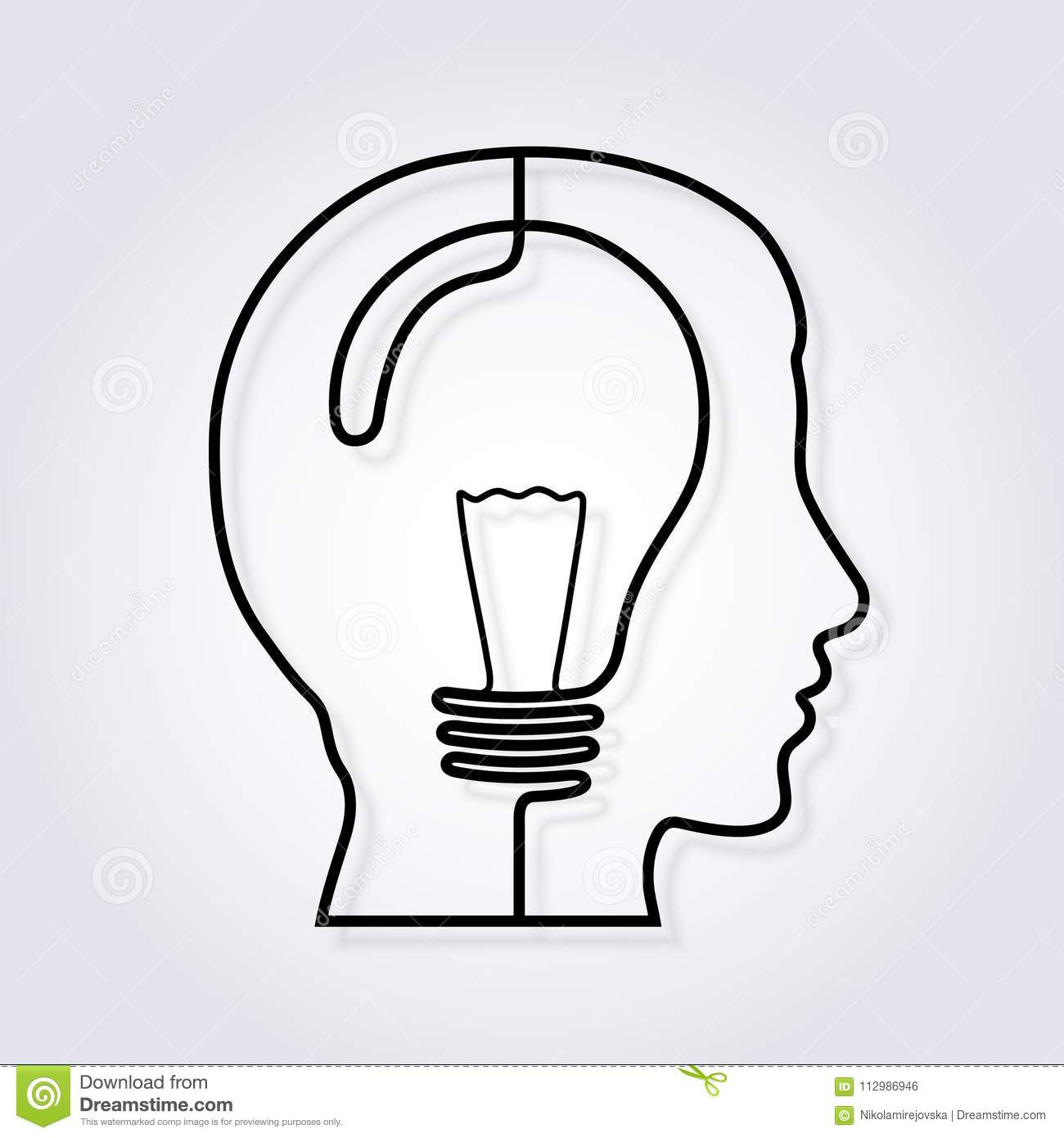 Idea concept. One line forming a head with lightbulb. Vector.