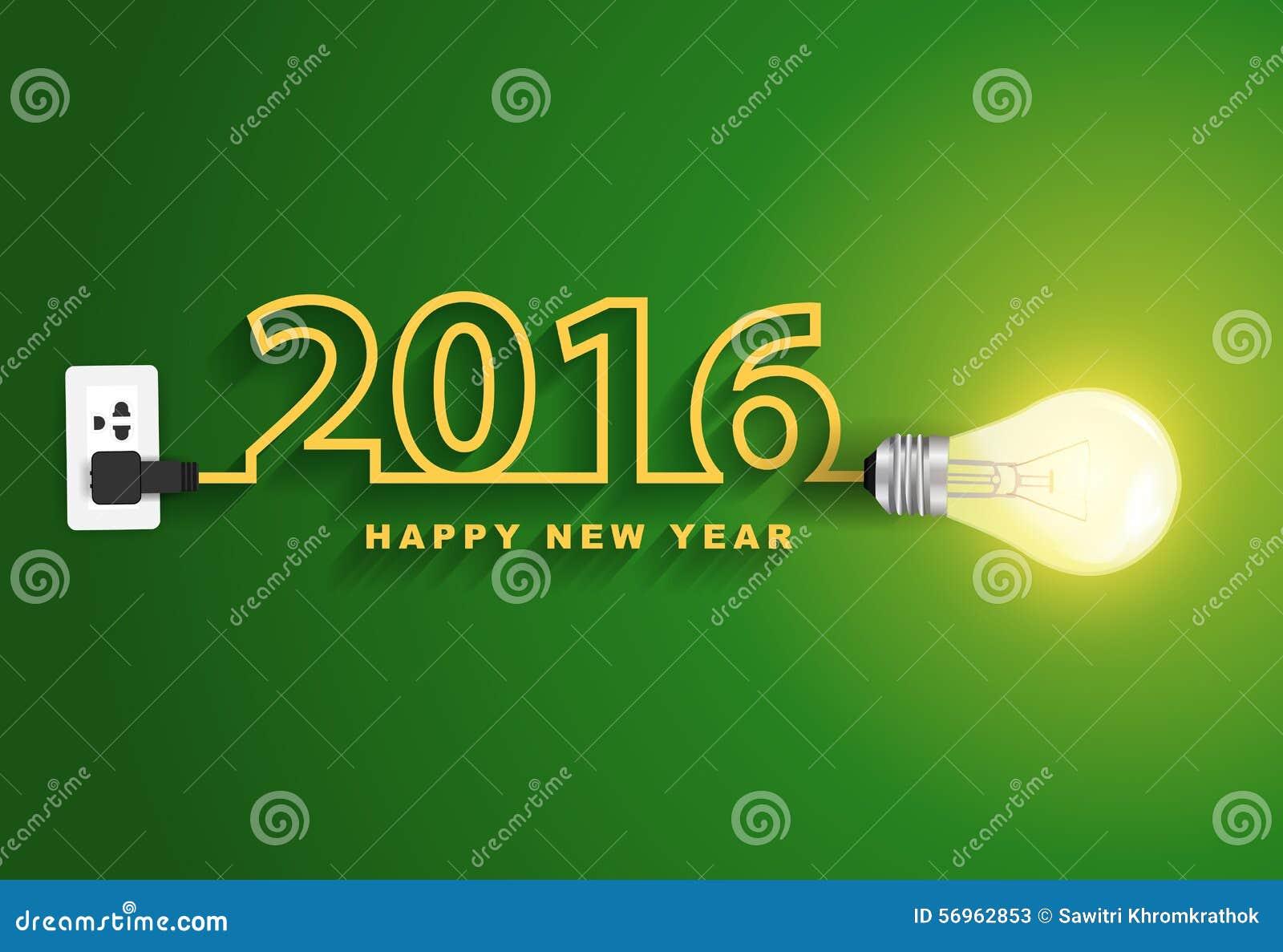 Idea creativa de la bombilla del concepto de la Feliz Año Nuevo del vector 2016