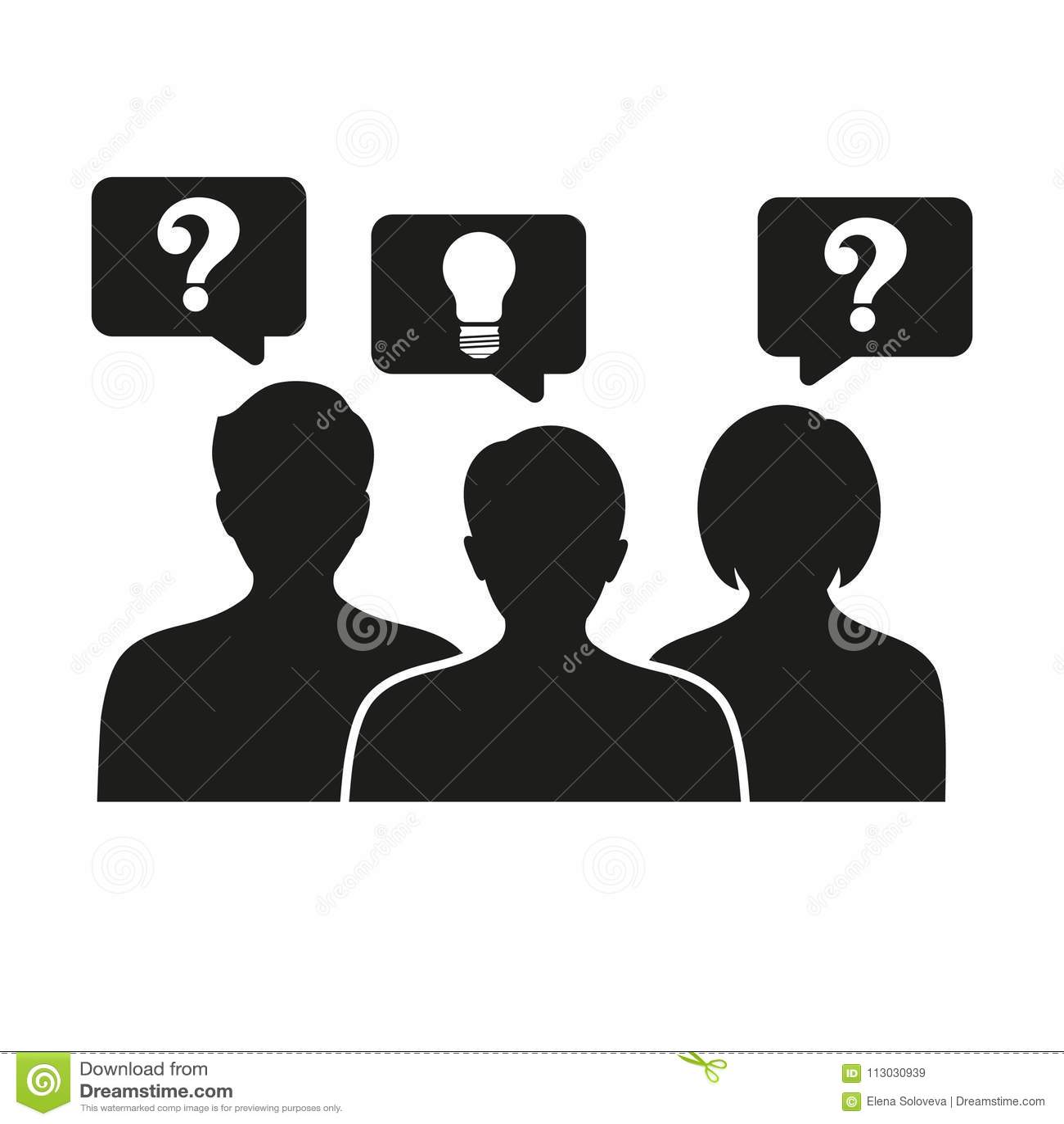 Idea creativa de pensamiento de la gente - con los iconos del signo de interrogación y de la bombilla -