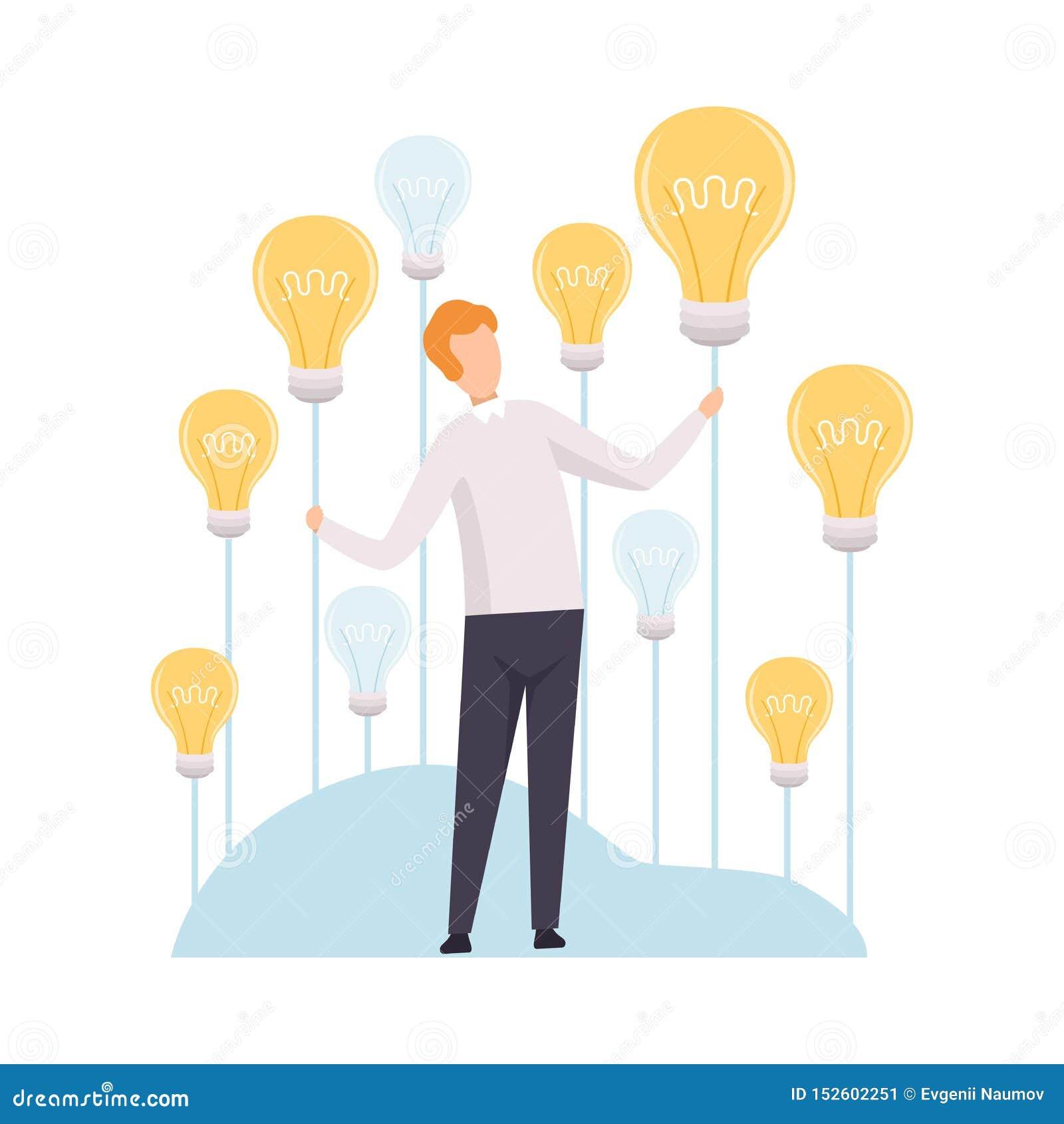 Idea de Catching Light Bulb del hombre de negocios, reunión de reflexión, innovación, ejemplo del vector del concepto del pensami