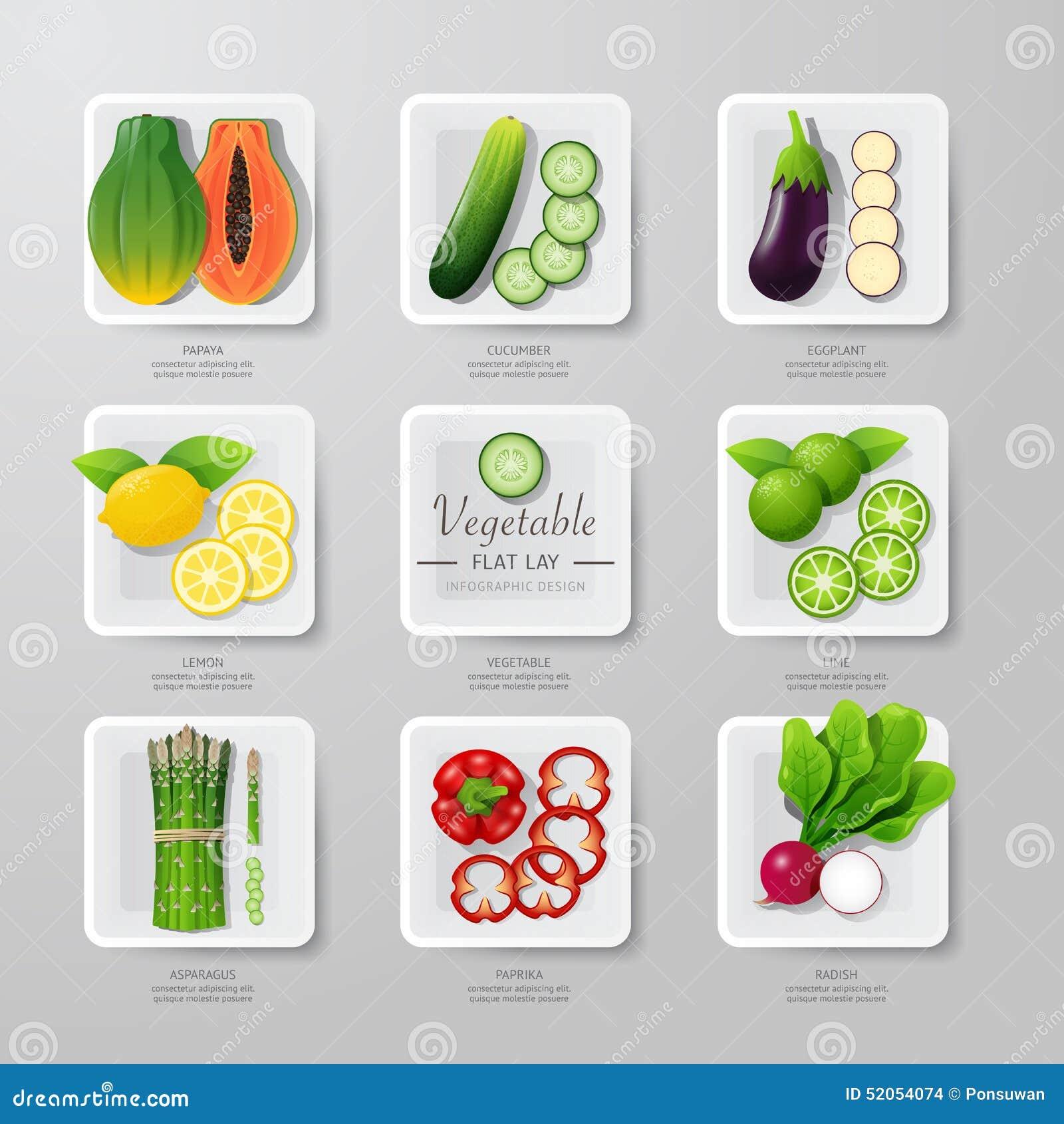 Idea de la endecha del plano de las verduras de la comida de Infographic Ilustración del vector