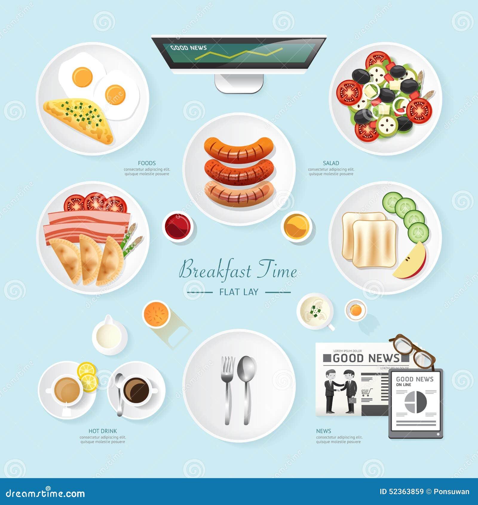 Idea de la endecha del plano del desayuno del negocio de la comida de Infographic