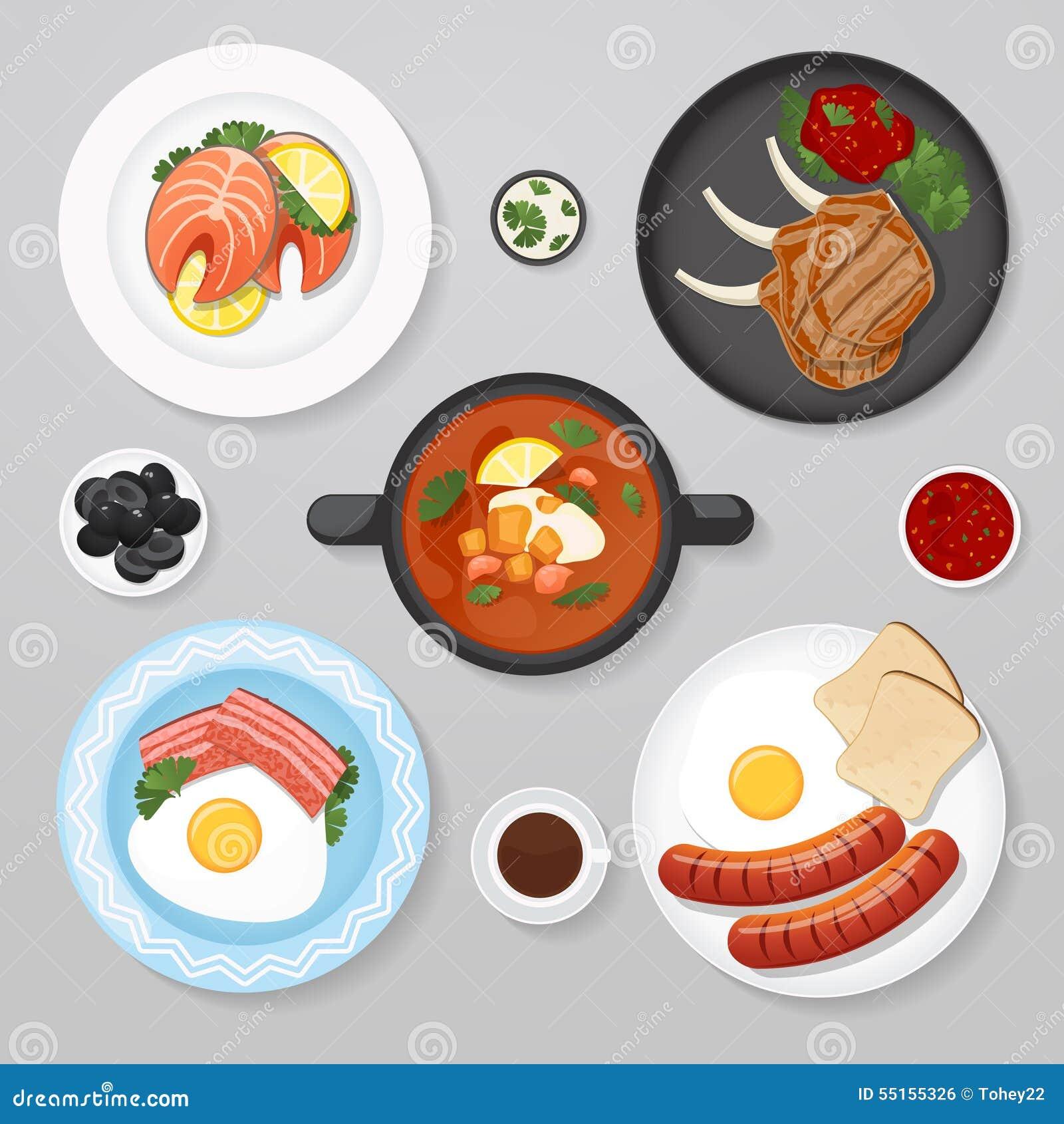 Idea de la endecha del plano del negocio de la comida