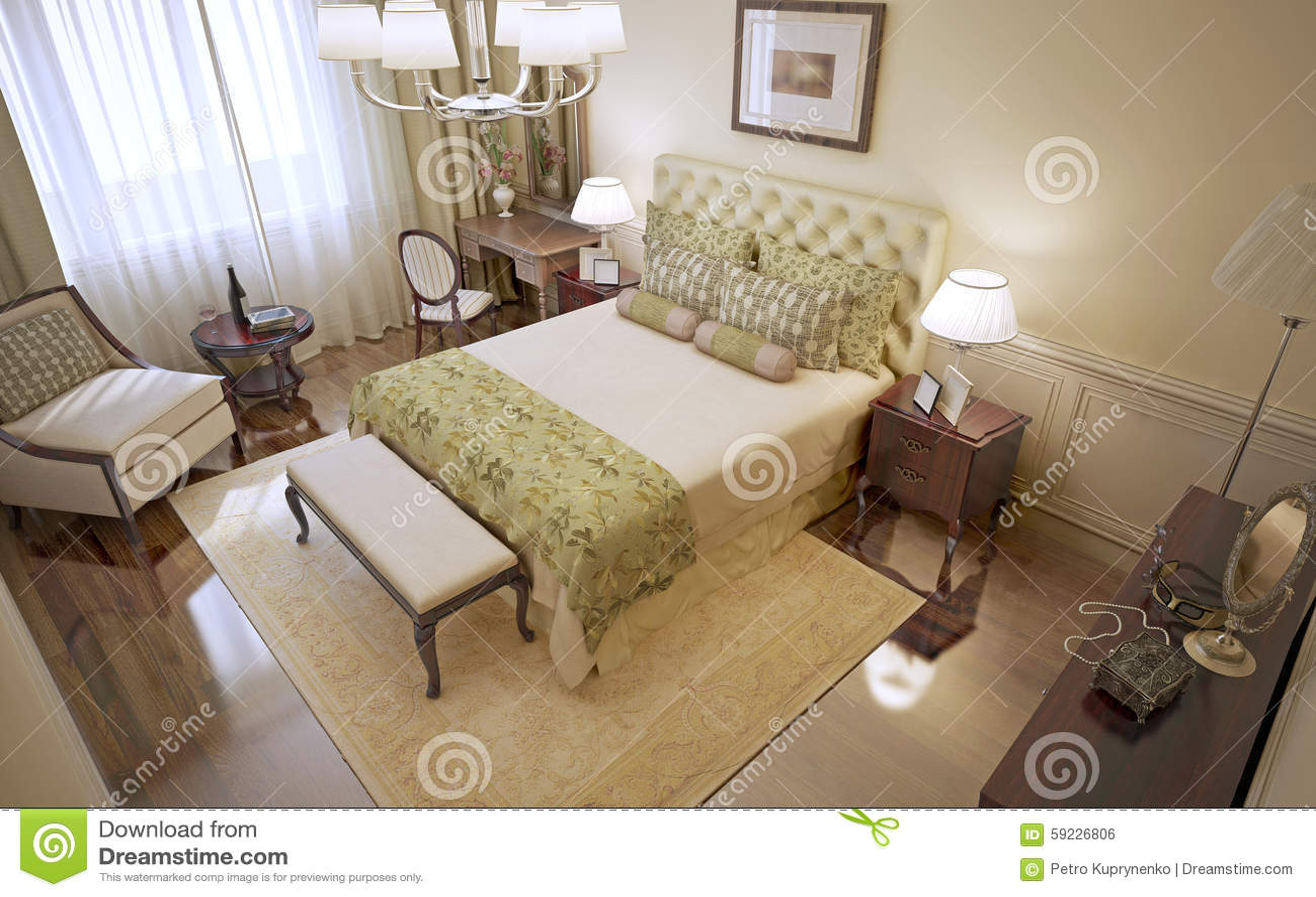 Idea del dormitorio clásico