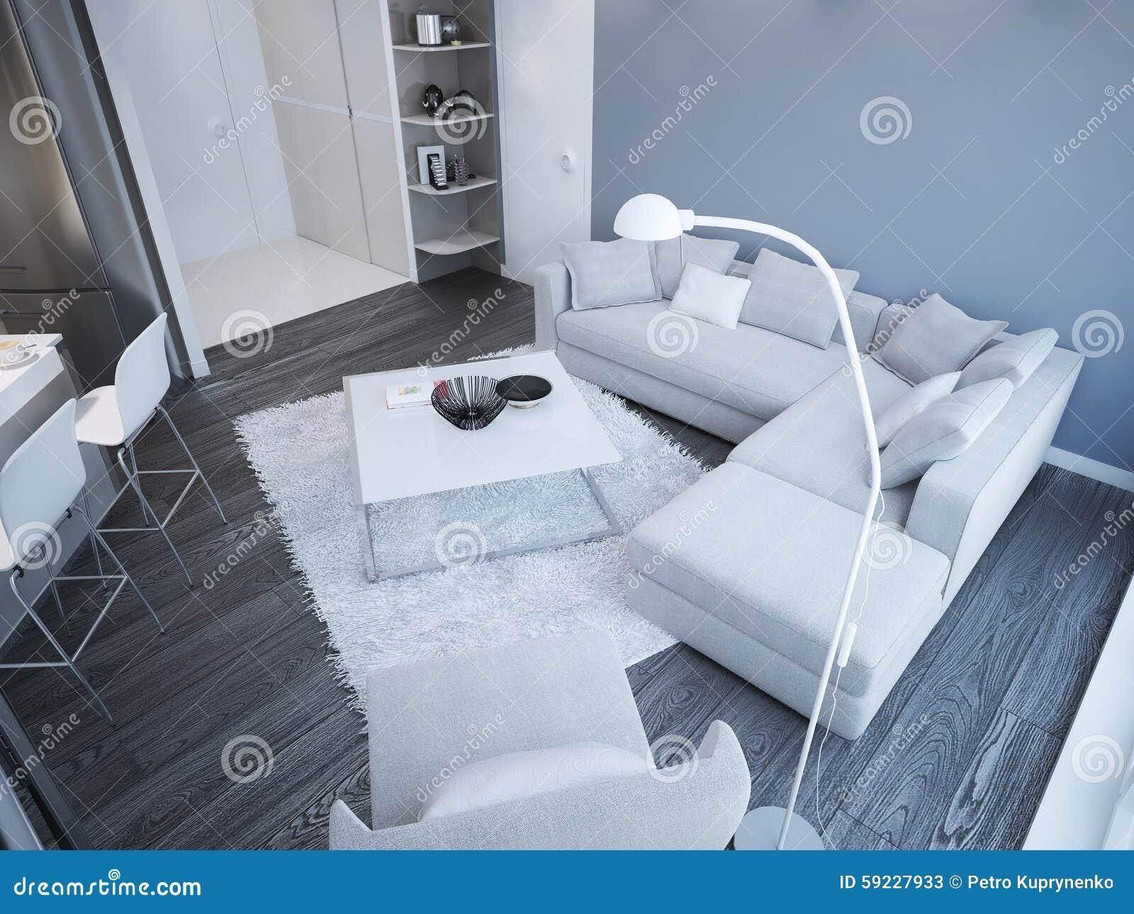 Idea del estudio minimalista de la sala de estar