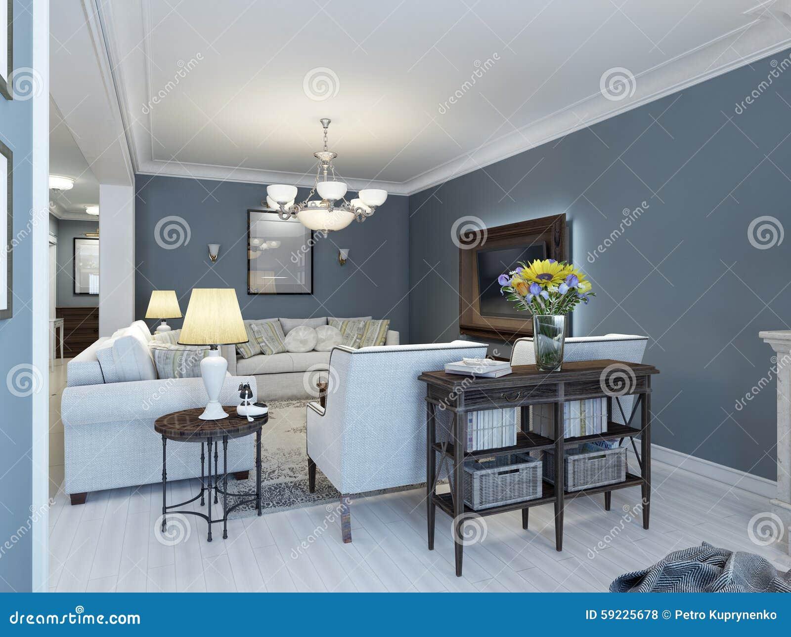 Idea del salón clásico con las paredes de la marina de guerra