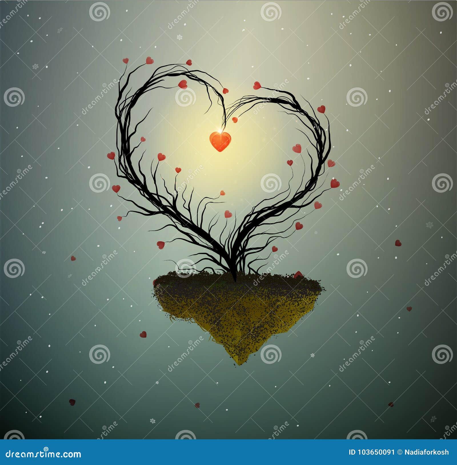 Idea della casa di famiglia, albero magico di amore della molla, albero con cuore con il nido e due uccelli bianchi dentro, casa