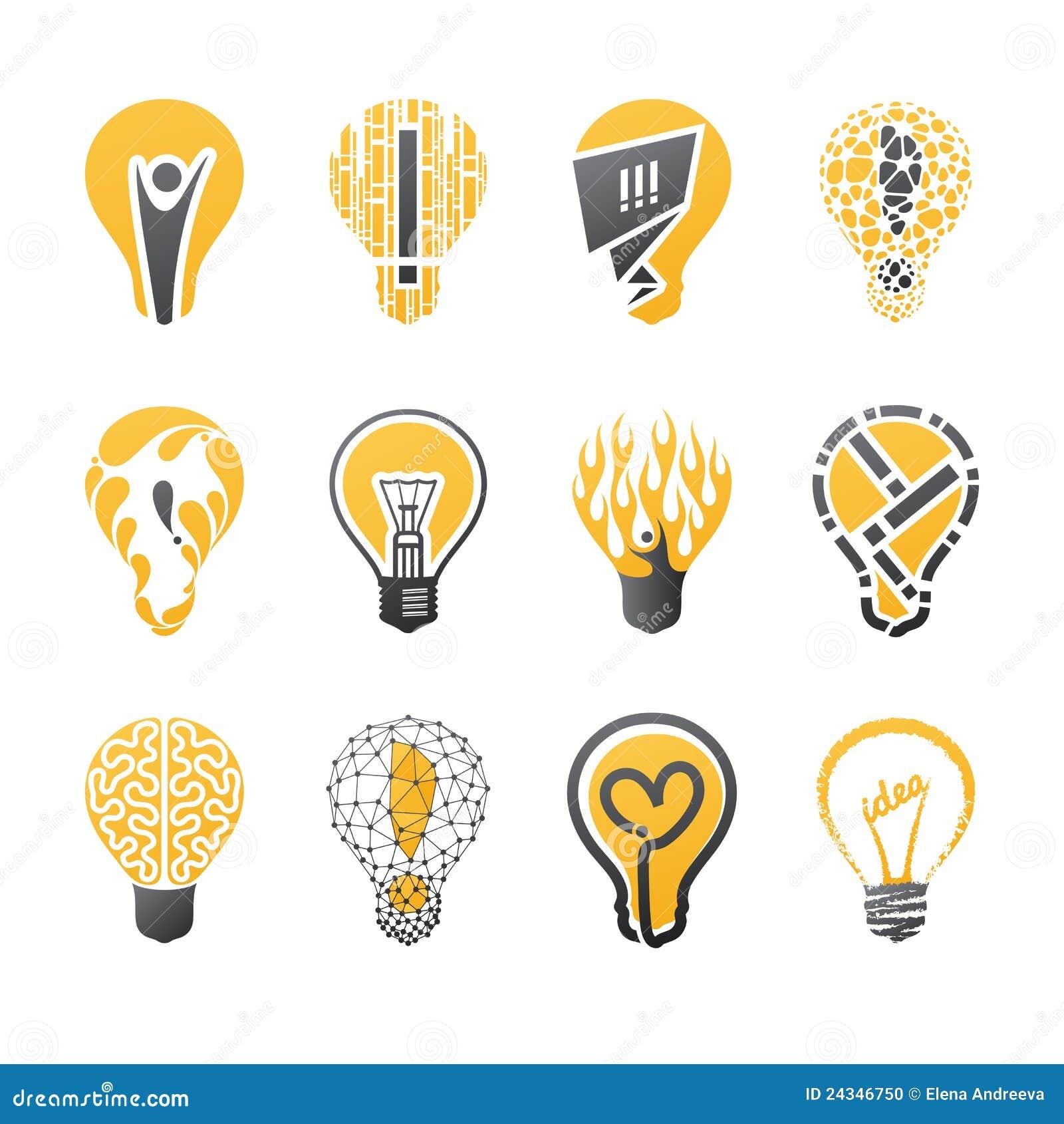Idea della lampadina. Insieme del modello di marchio di vettore.