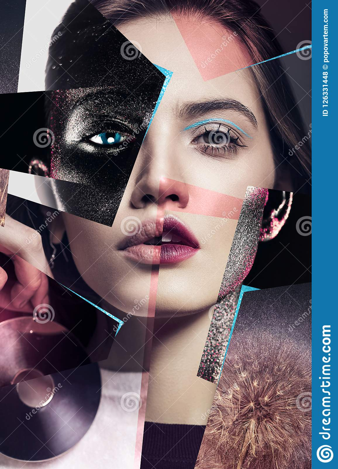 Composition Of Women Portraits With Large Earrings And Body Art Stock Photo Image Of Collage Professional 126331448