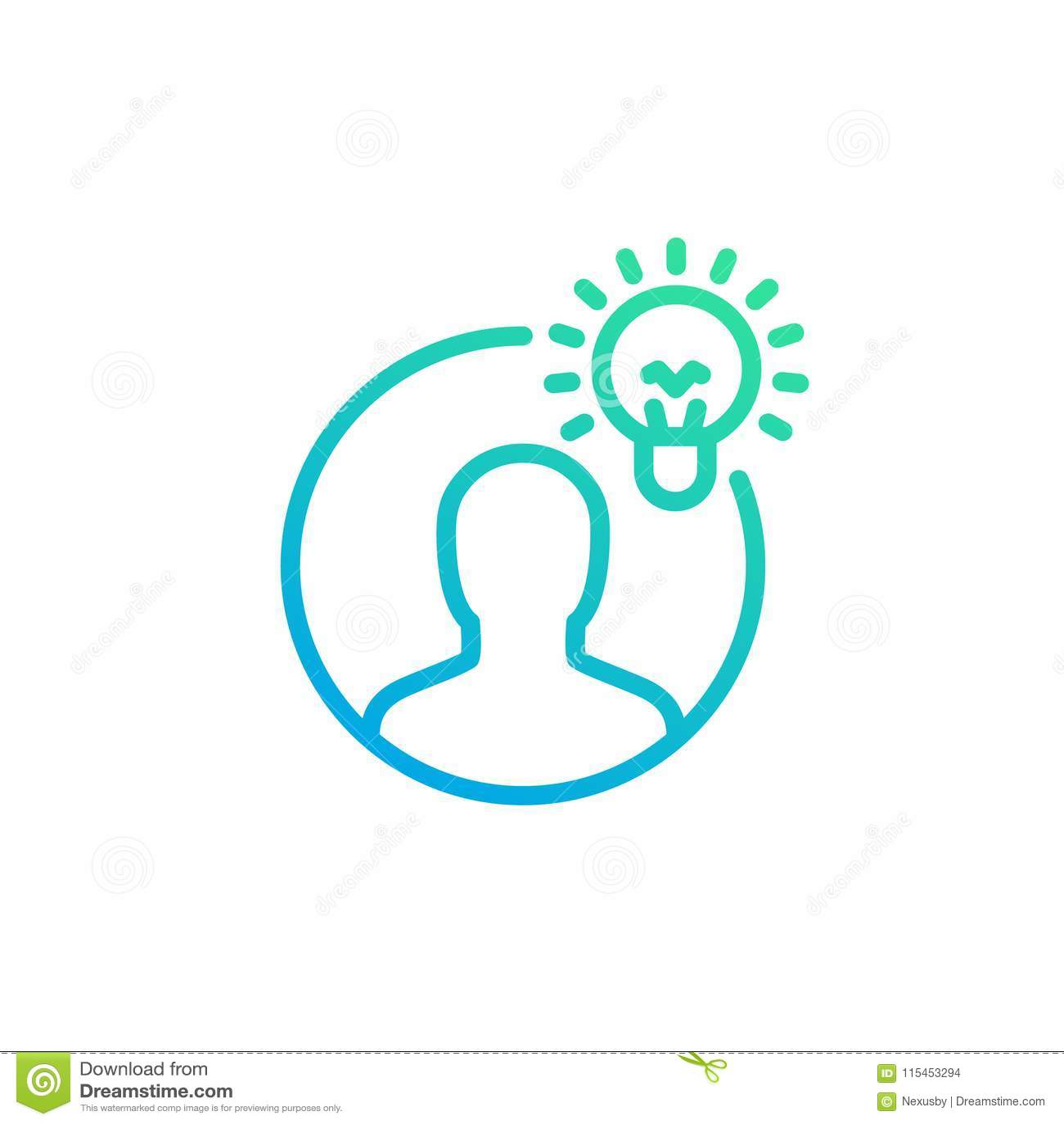 Idea, icono linear de la penetración