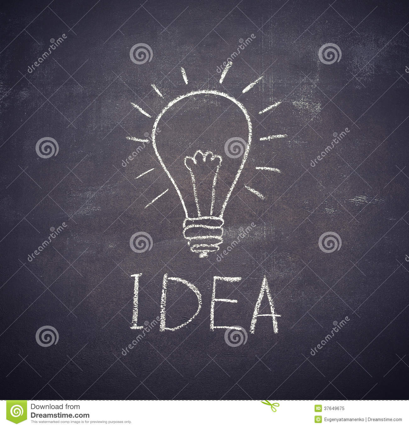 Idea Light Bulb Drawn With Chalk On Blackboard Royalty