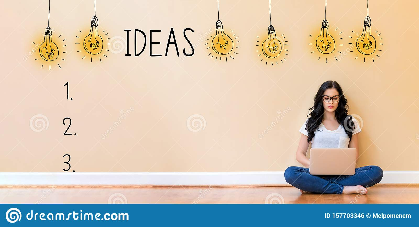 Idea list with woman using a laptop