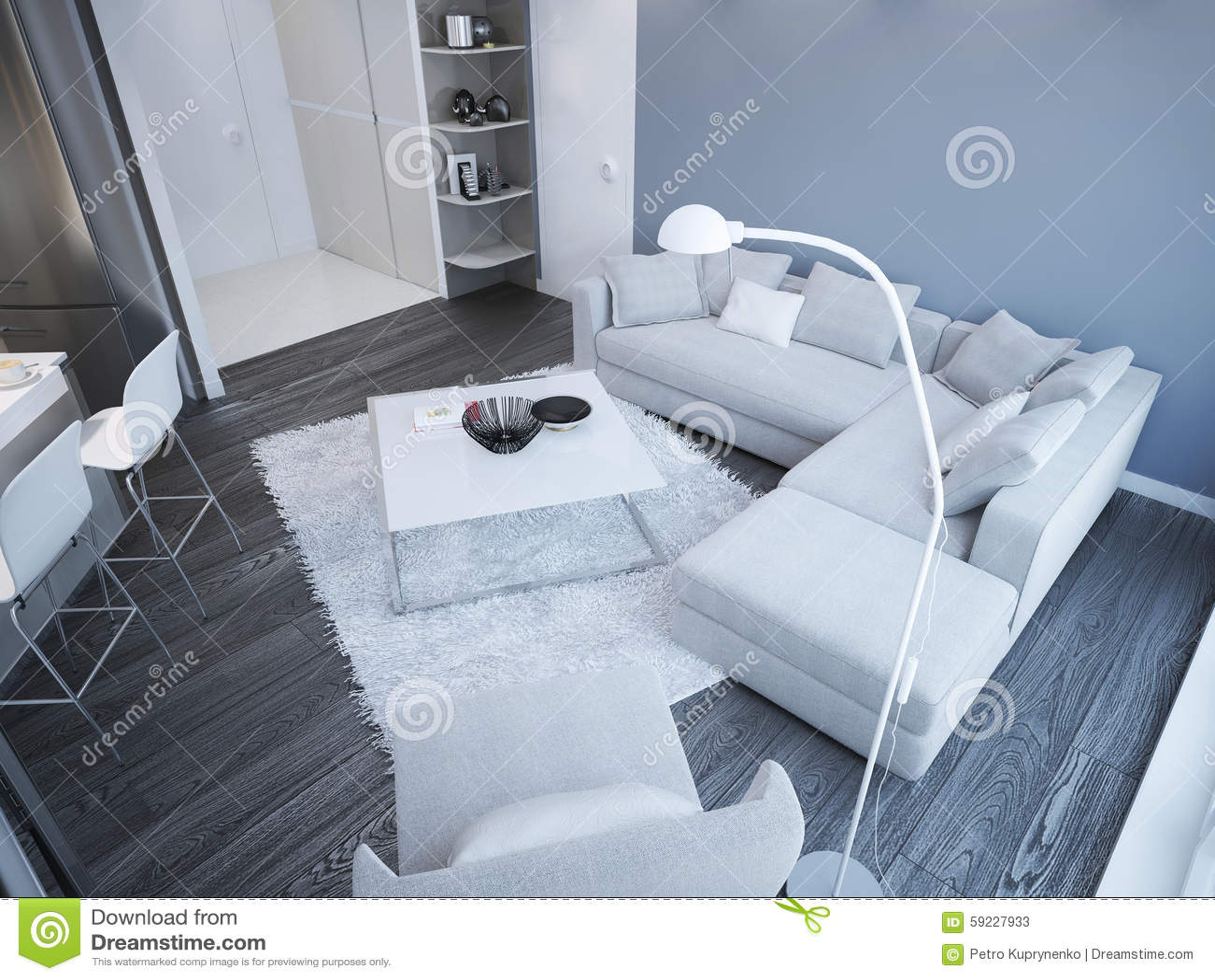 Blue Flooring Furniture Idea Light Living Minimalist Room Studio