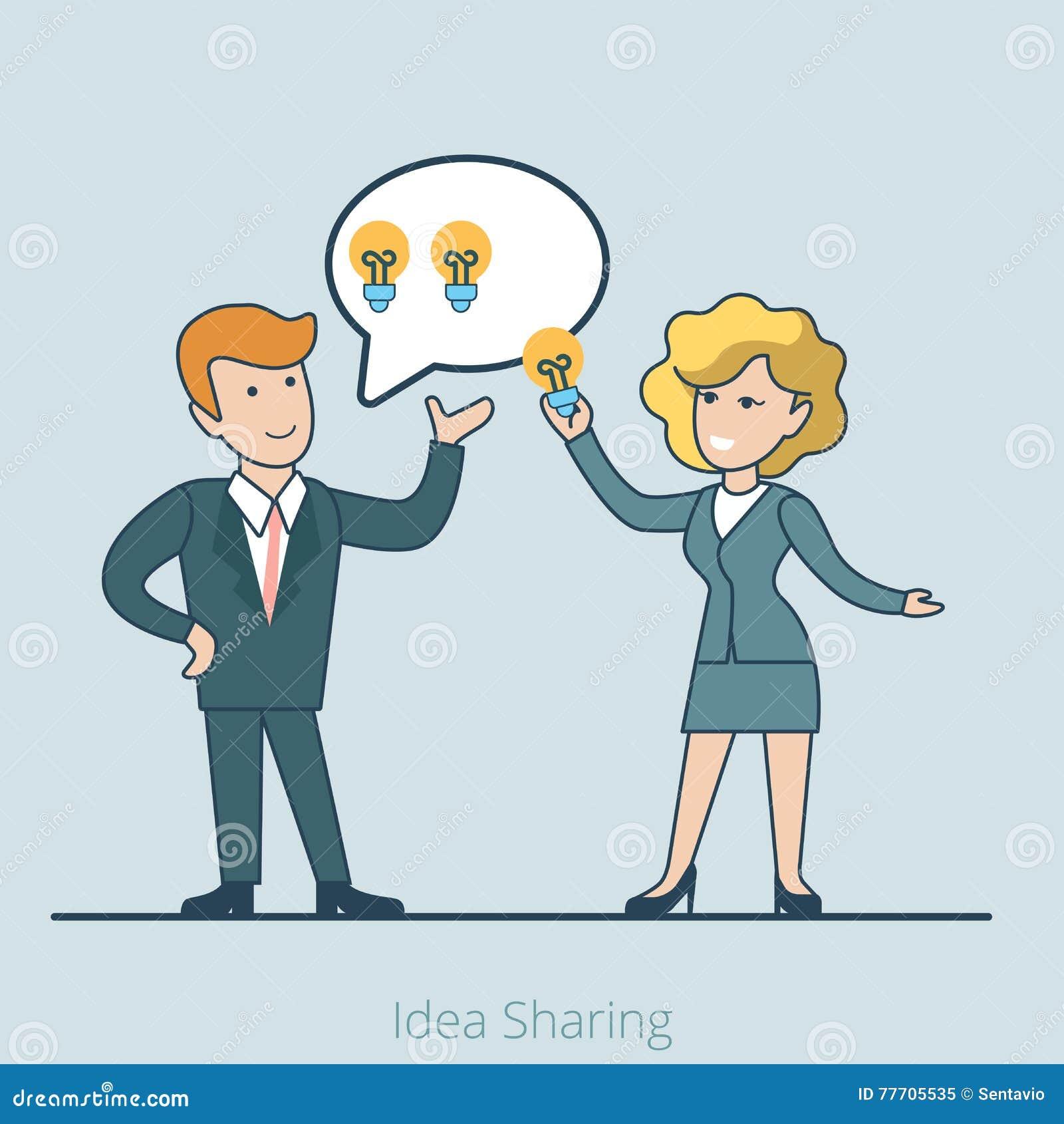 Idea plana linear del negocio que comparte a la gente IL
