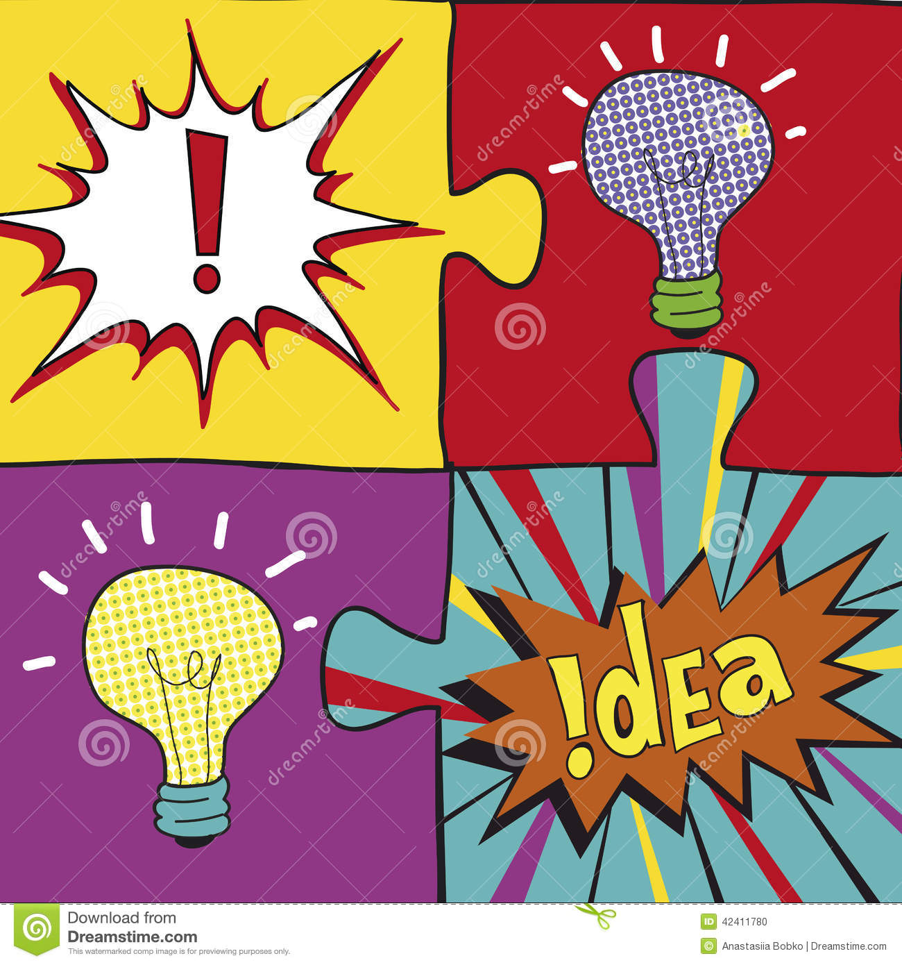 Pop Art Design In Pop Art Style Creative Light Bulbs Idea Concept Background Design