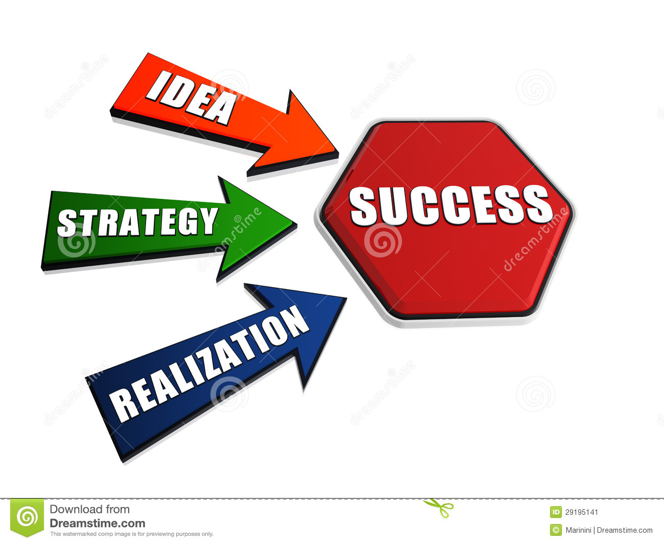 Idea, Strategy, Realization, Success In Arrows And Hexagon Stock Image ...