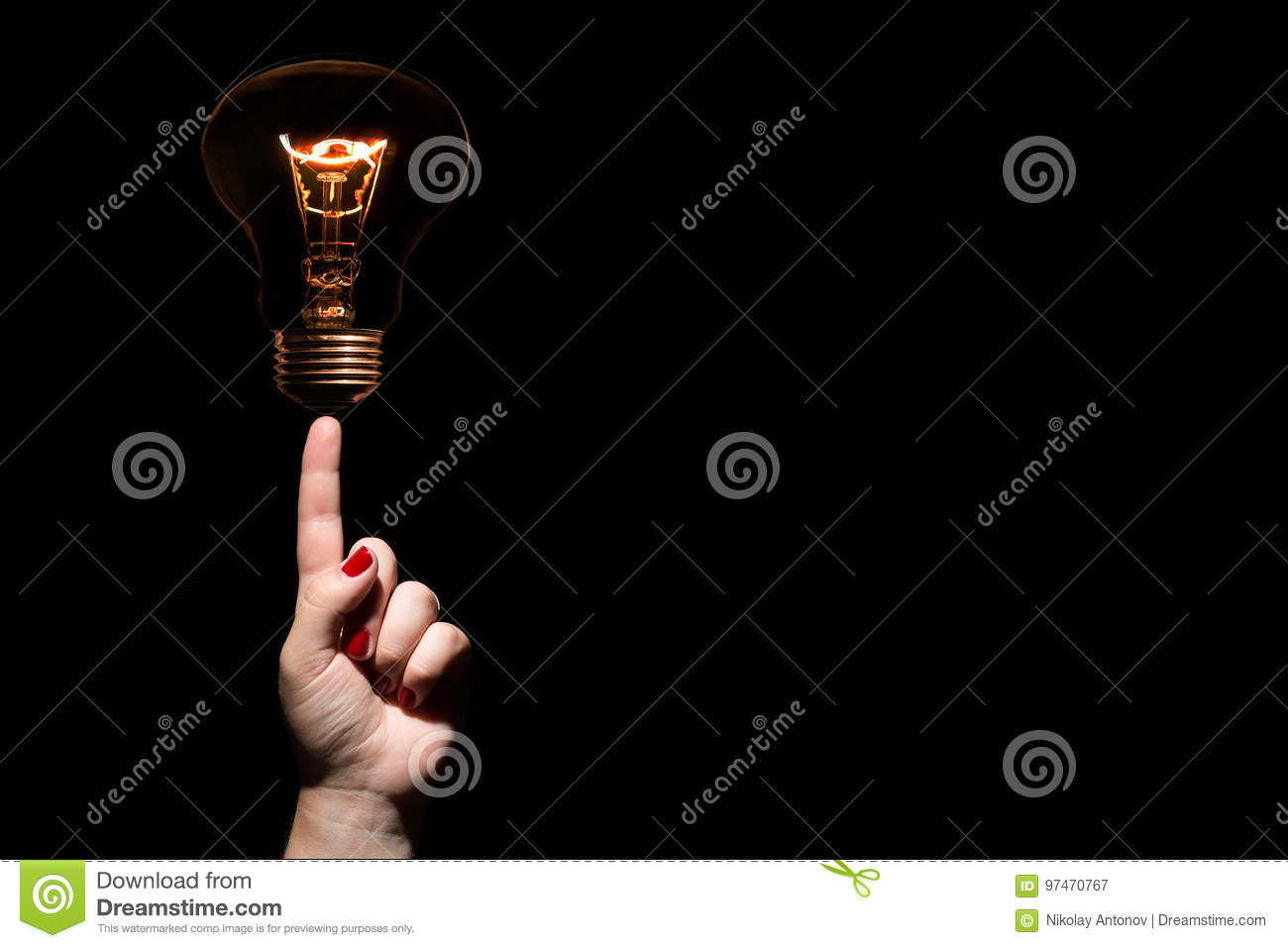 Idea And Success Coincept. Glowing Light Bulb Without Wires On ...
